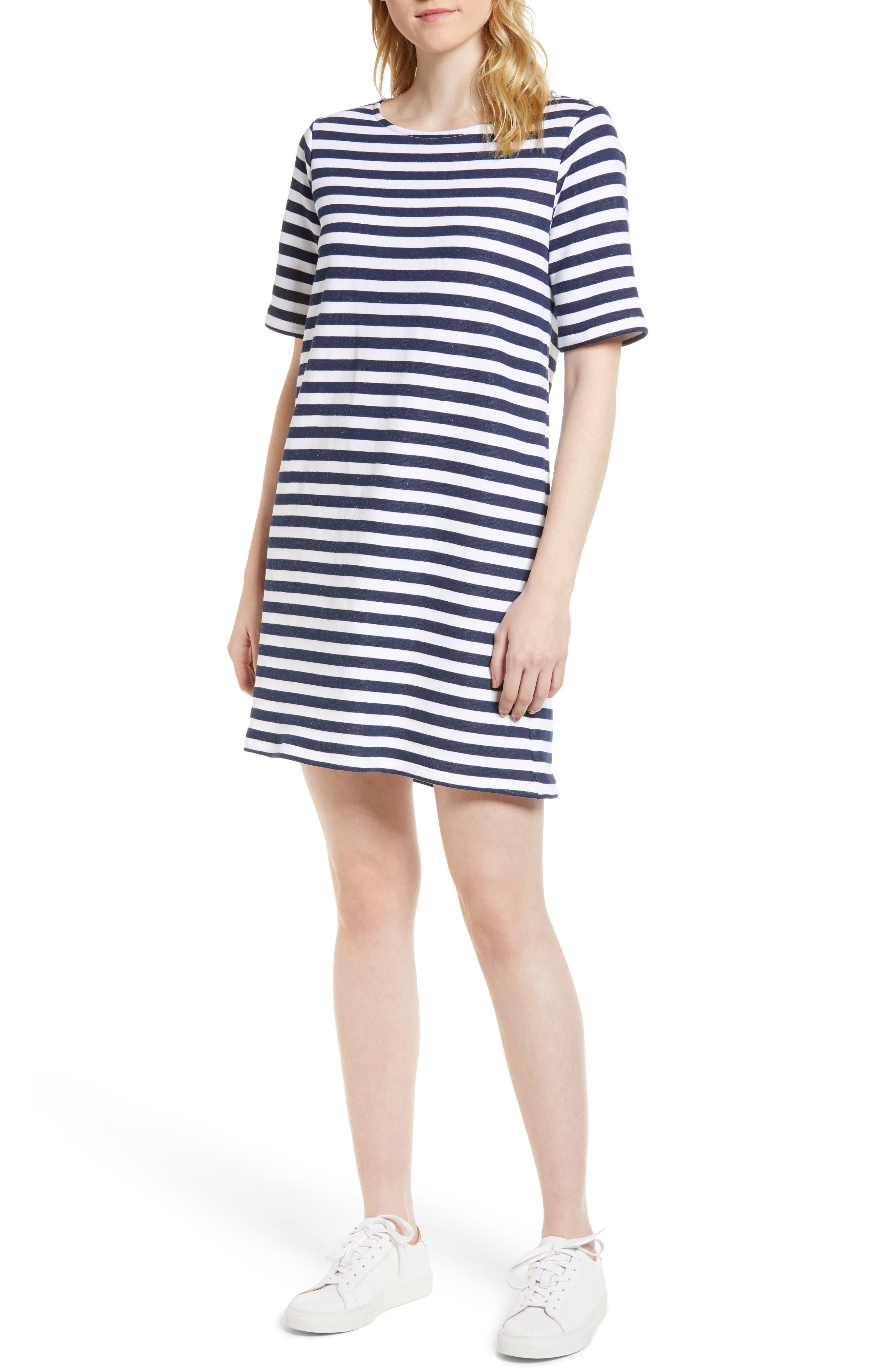 Pleat Back Minidress,                         Main,                         color, Navy/ Ivory Stripe