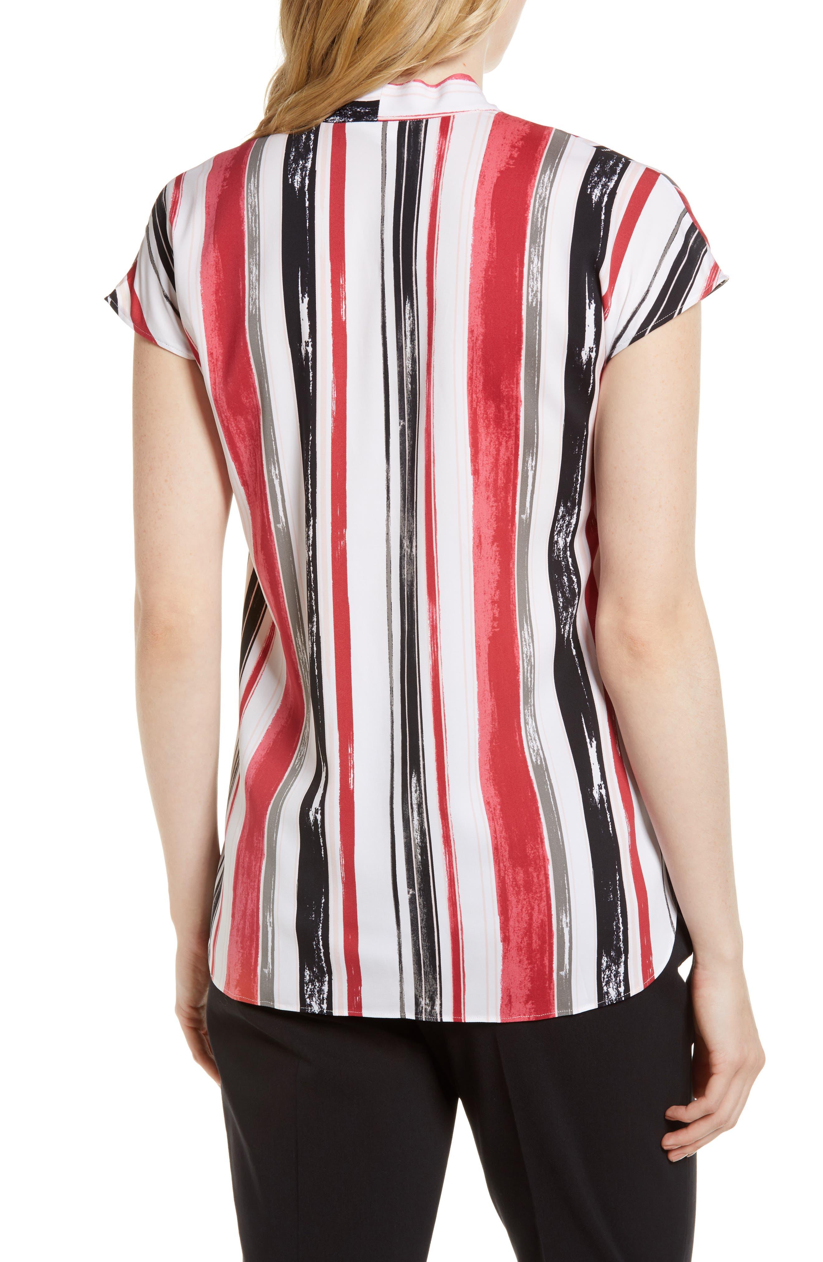 Short Sleeve Stripe Stretch Silk Blouse,                             Alternate thumbnail 2, color,                             Ivory- Pink Multi Stripe