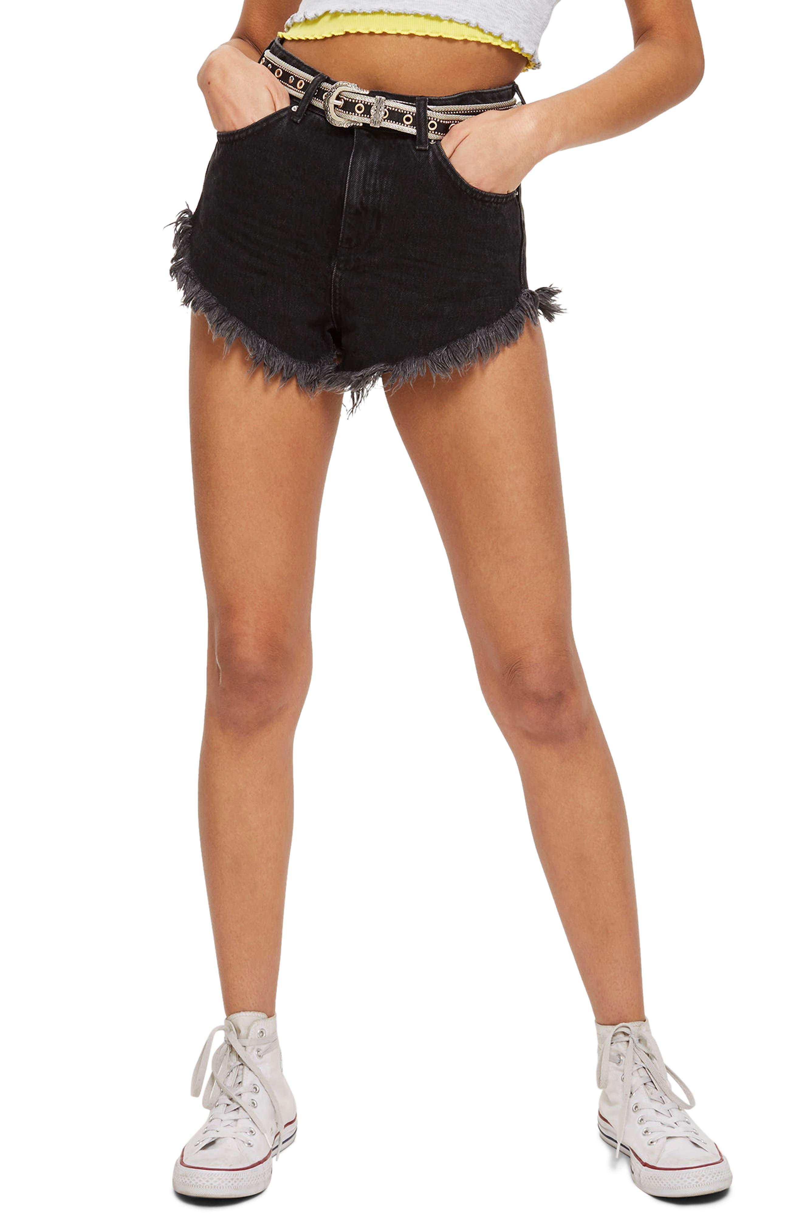 Kiri Moto Fray Hem Shorts,                         Main,                         color, Washed Black