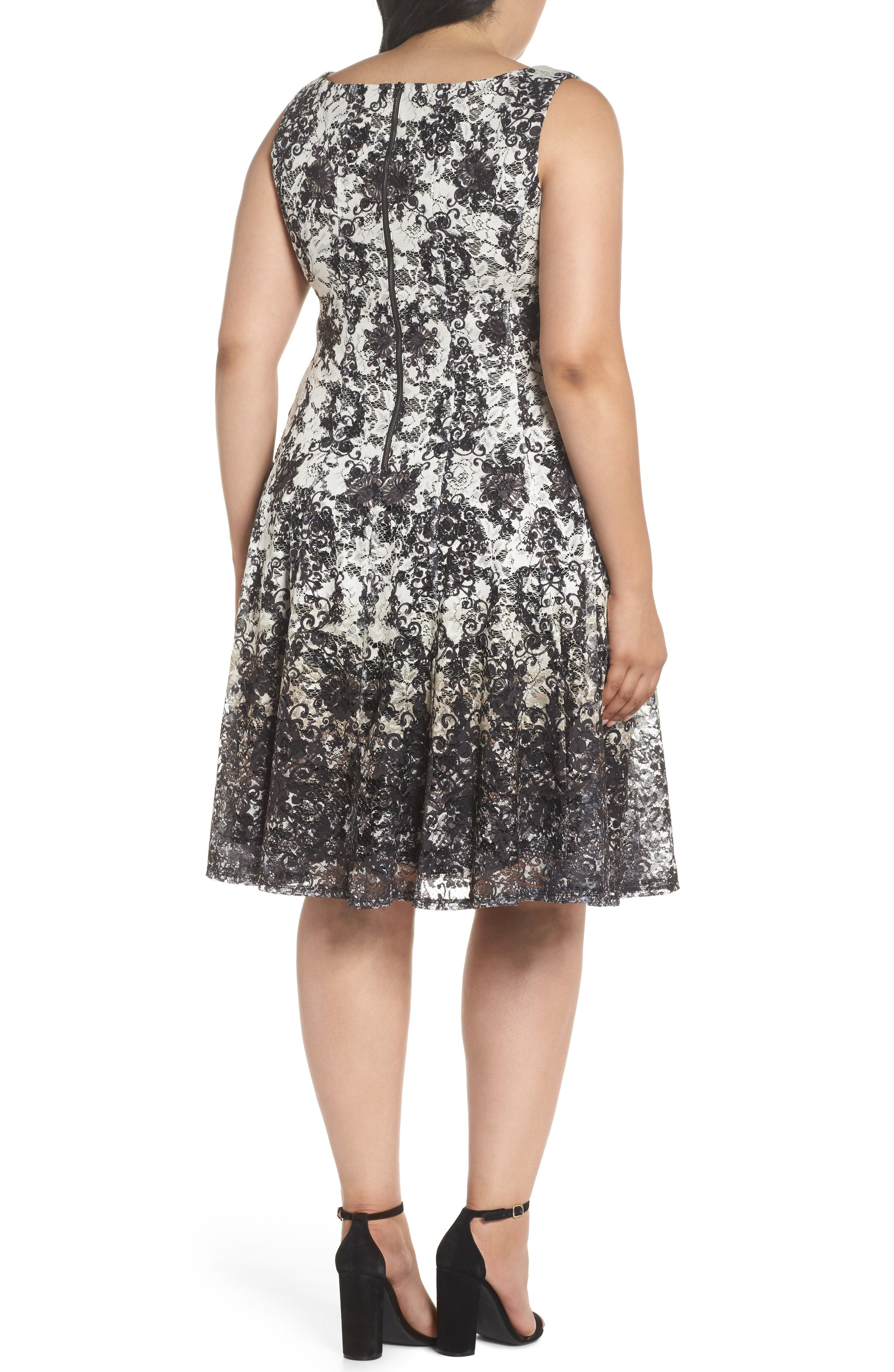 Printed Lace Fit & Flare Dress,                             Alternate thumbnail 2, color,                             Ivory/ Black