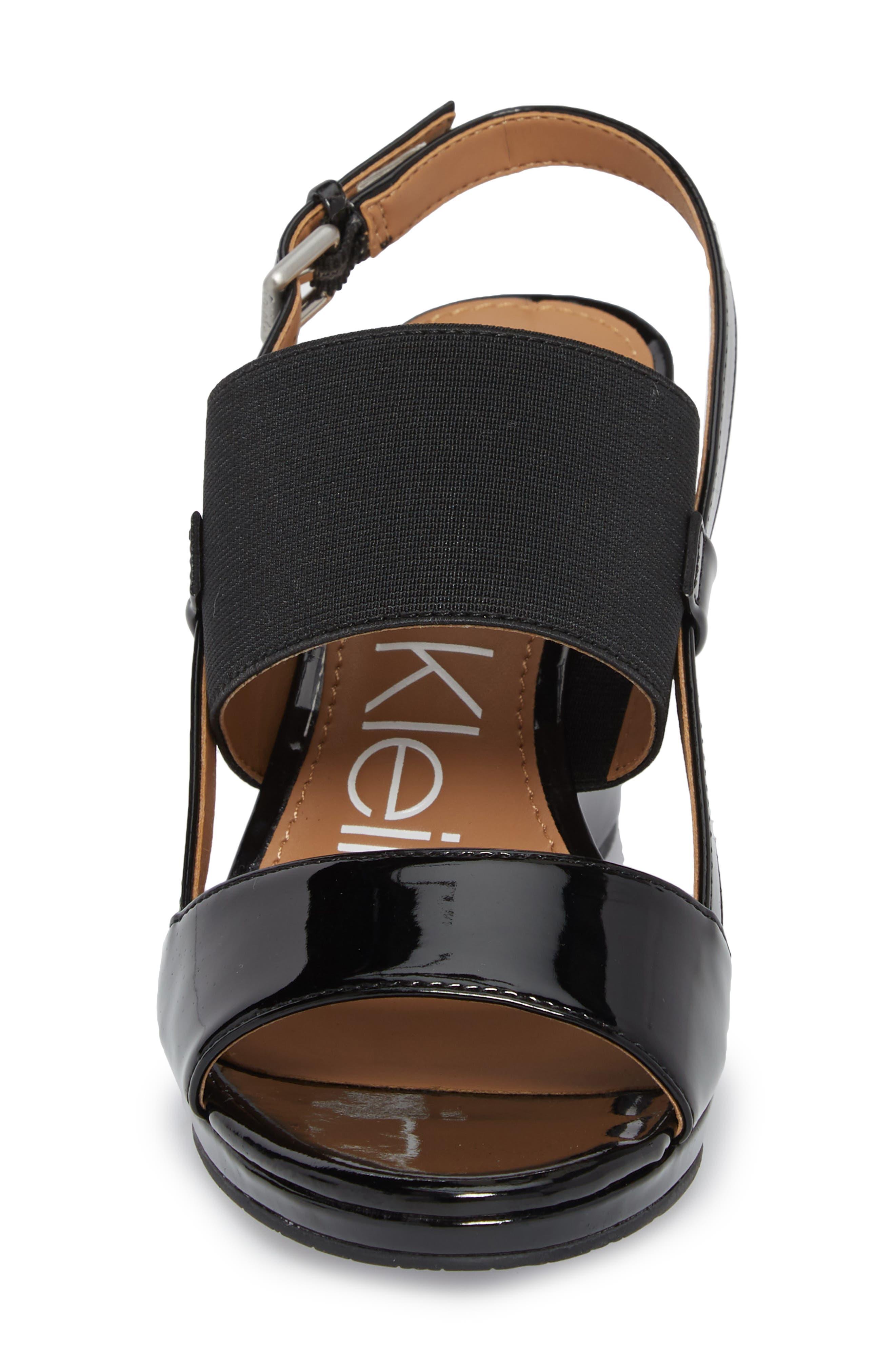 Bethan Wedge Sandal,                             Alternate thumbnail 4, color,                             Black Patent