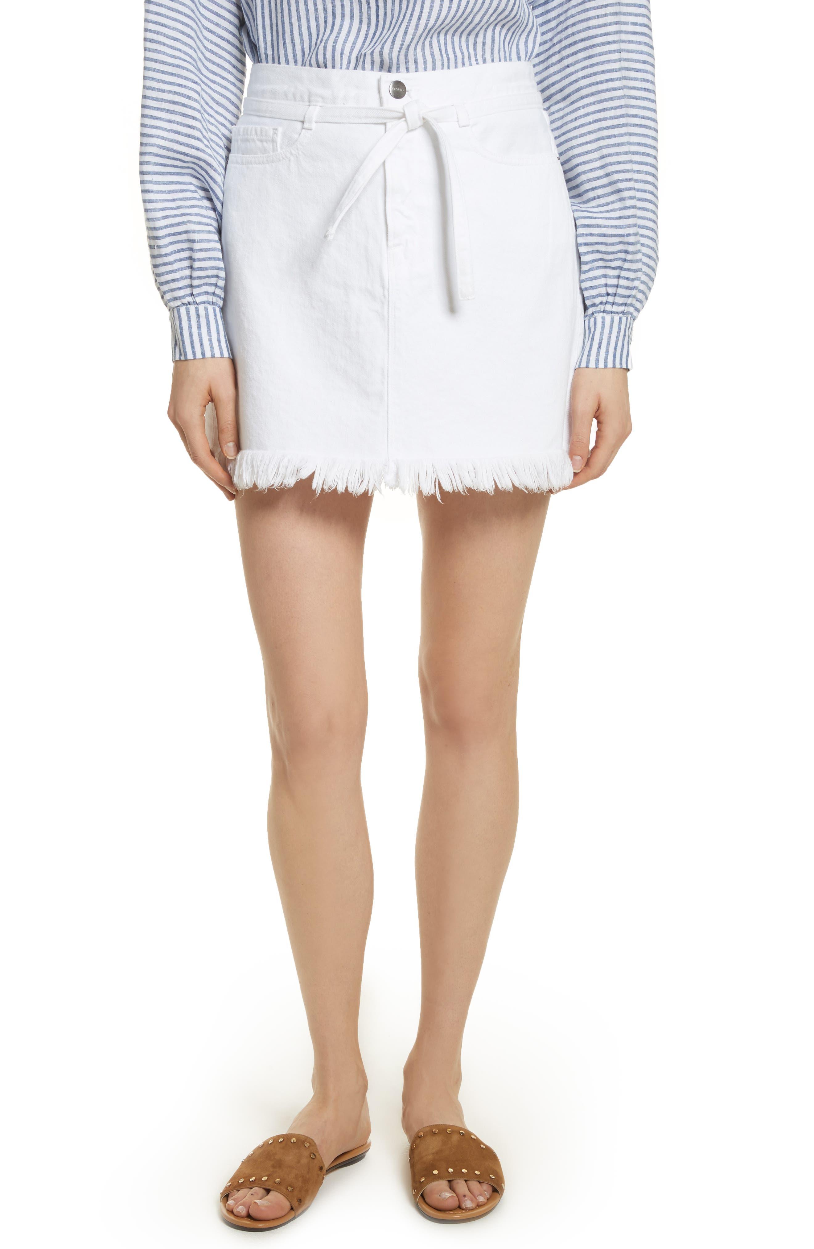 Le High Fray Hem Belted Denim Skirt,                             Main thumbnail 1, color,                             Blanc
