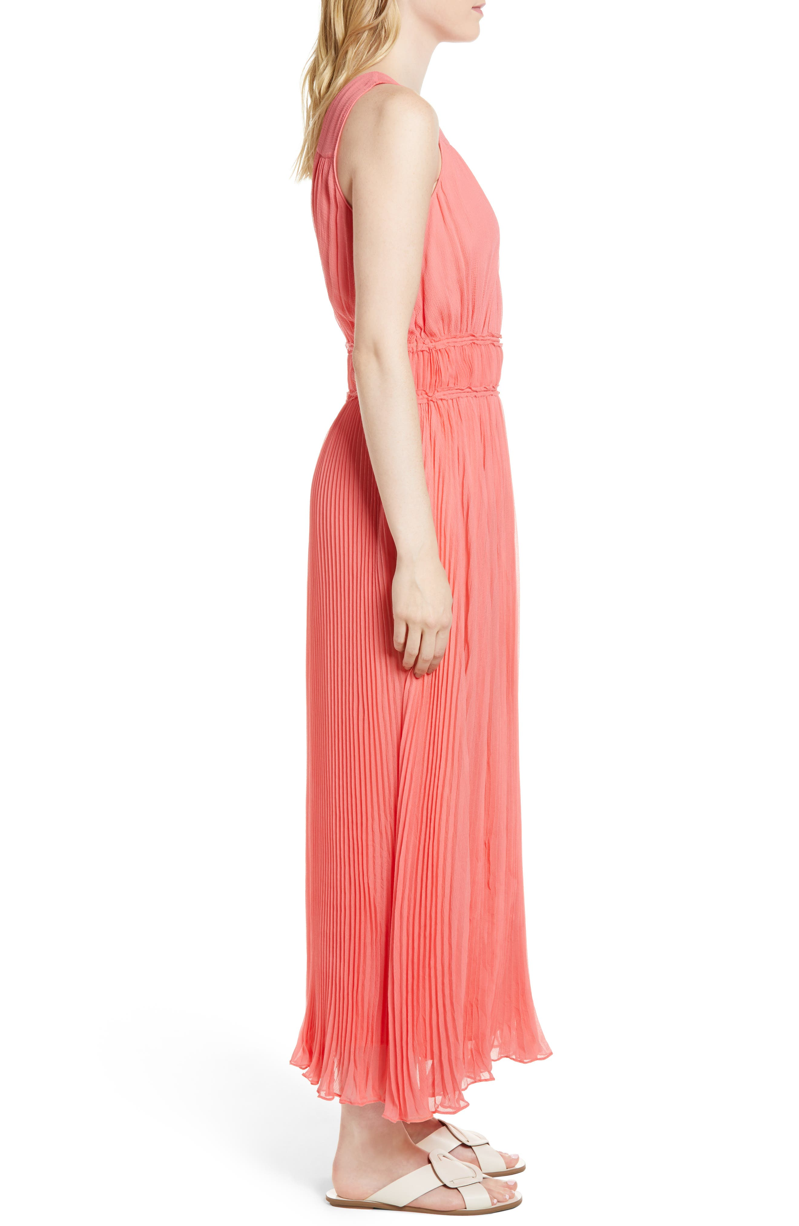 Pleated Crinkle Silk Maxi Dress,                             Alternate thumbnail 3, color,                             Coral Sugar