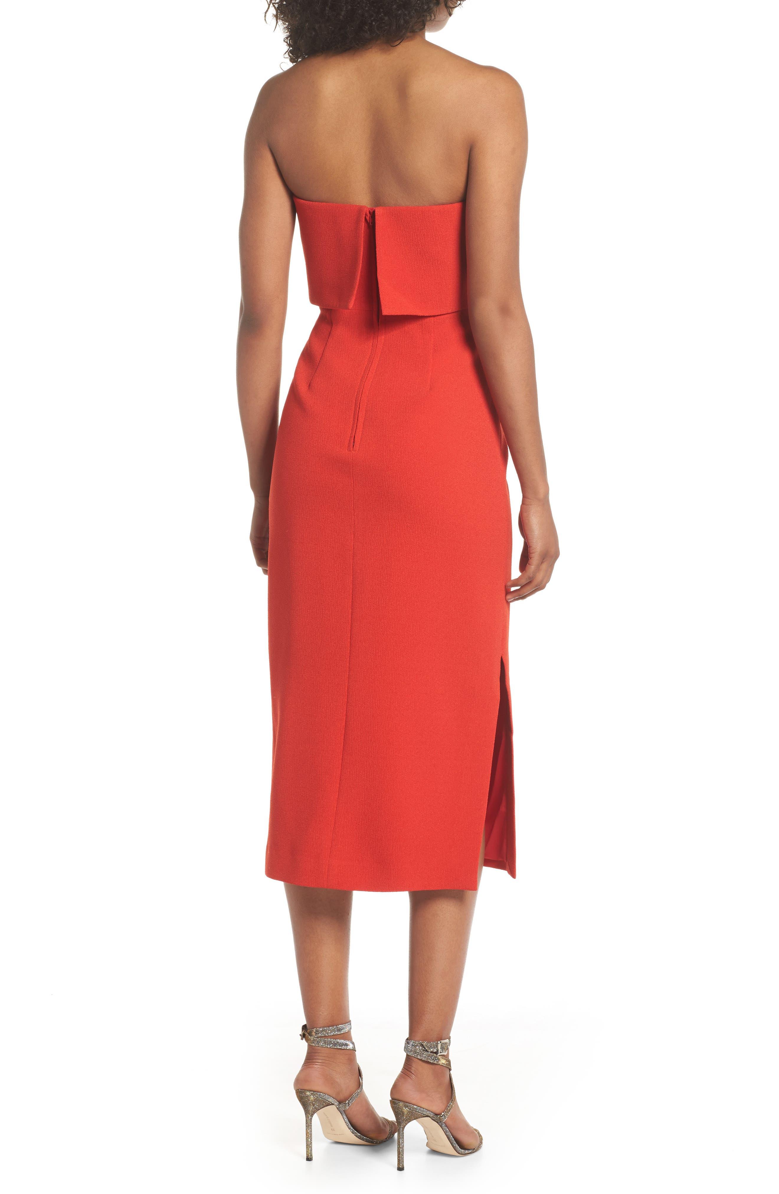 Entice Strapless Midi Dress,                             Alternate thumbnail 2, color,                             Red