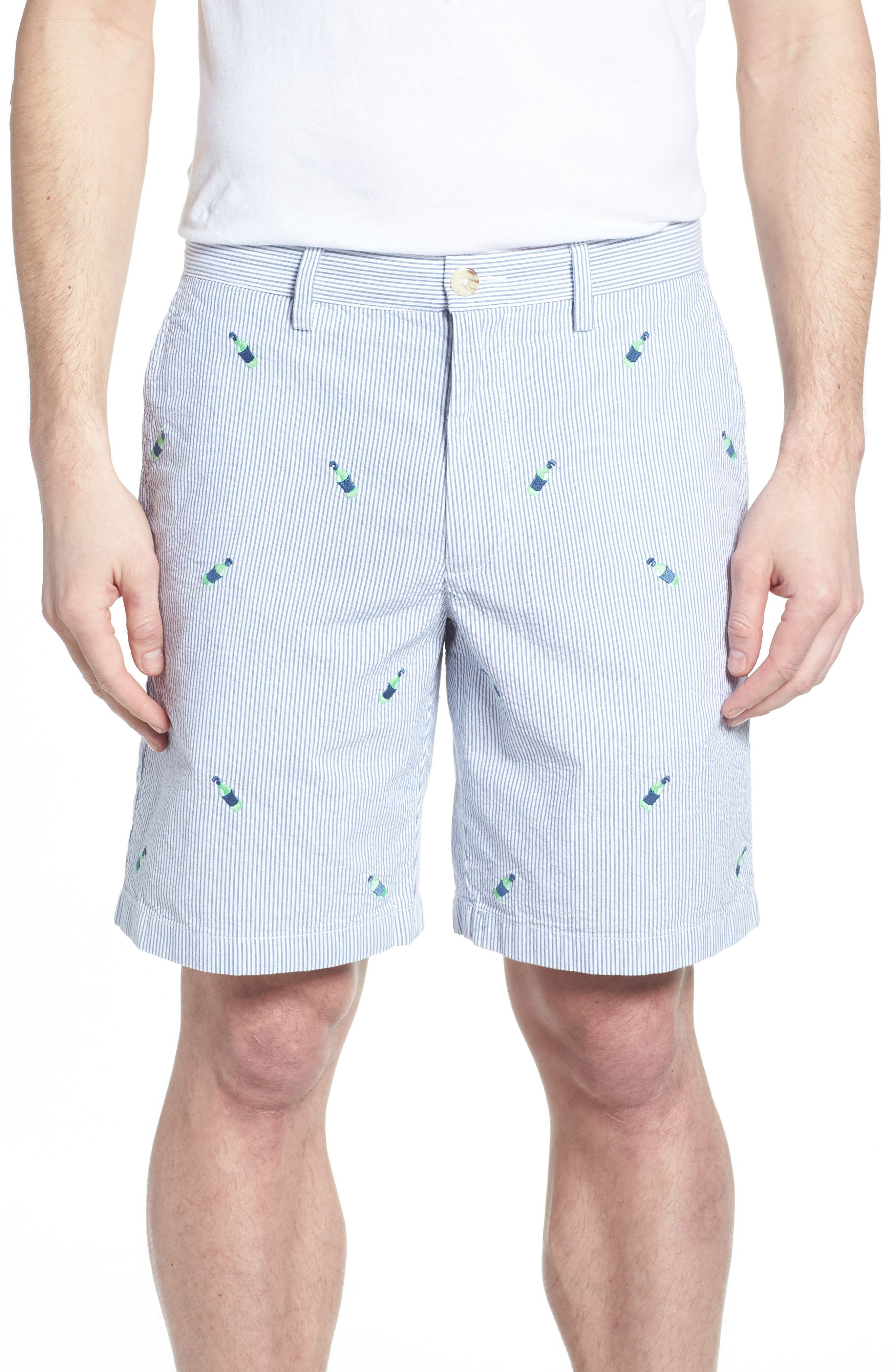 Embroidered Seersucker Shorts,                             Main thumbnail 1, color,                             Seven Seas Blue