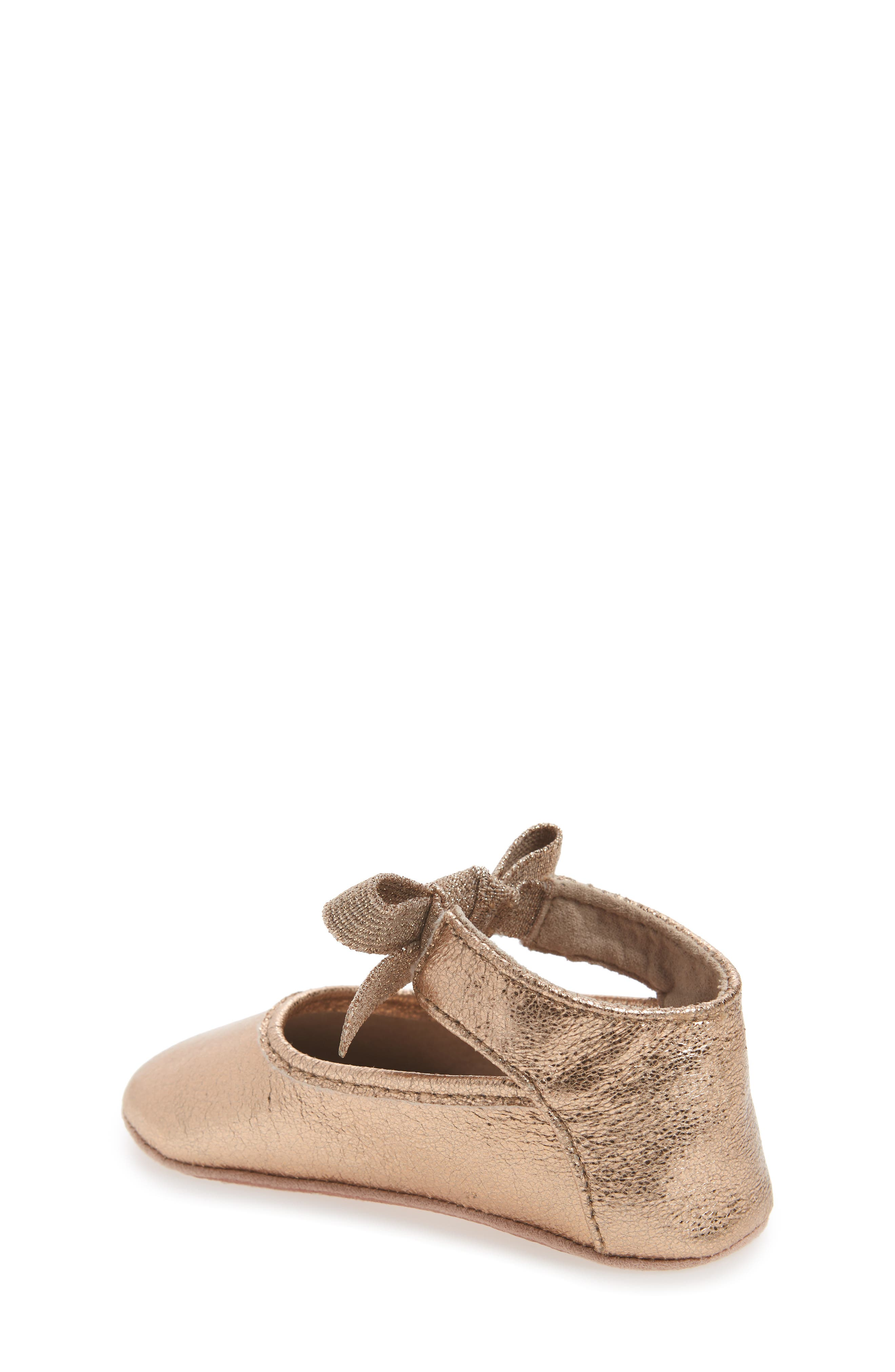 Alternate Image 2  - Kenneth Cole New York Rose Bow Metallic Ballet Flat (Baby)