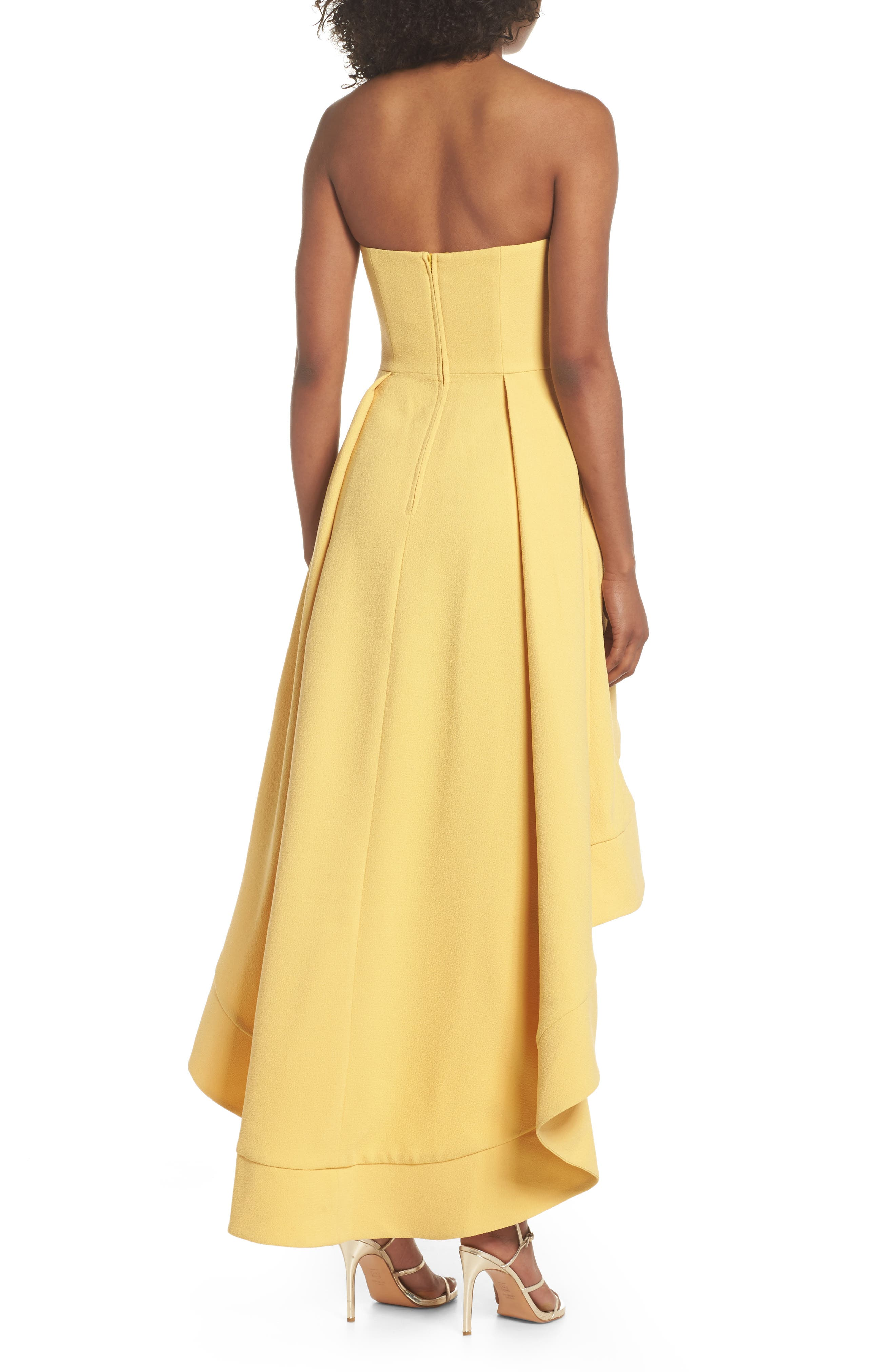 Entice Strapless Crepe Gown,                             Alternate thumbnail 2, color,                             Honey