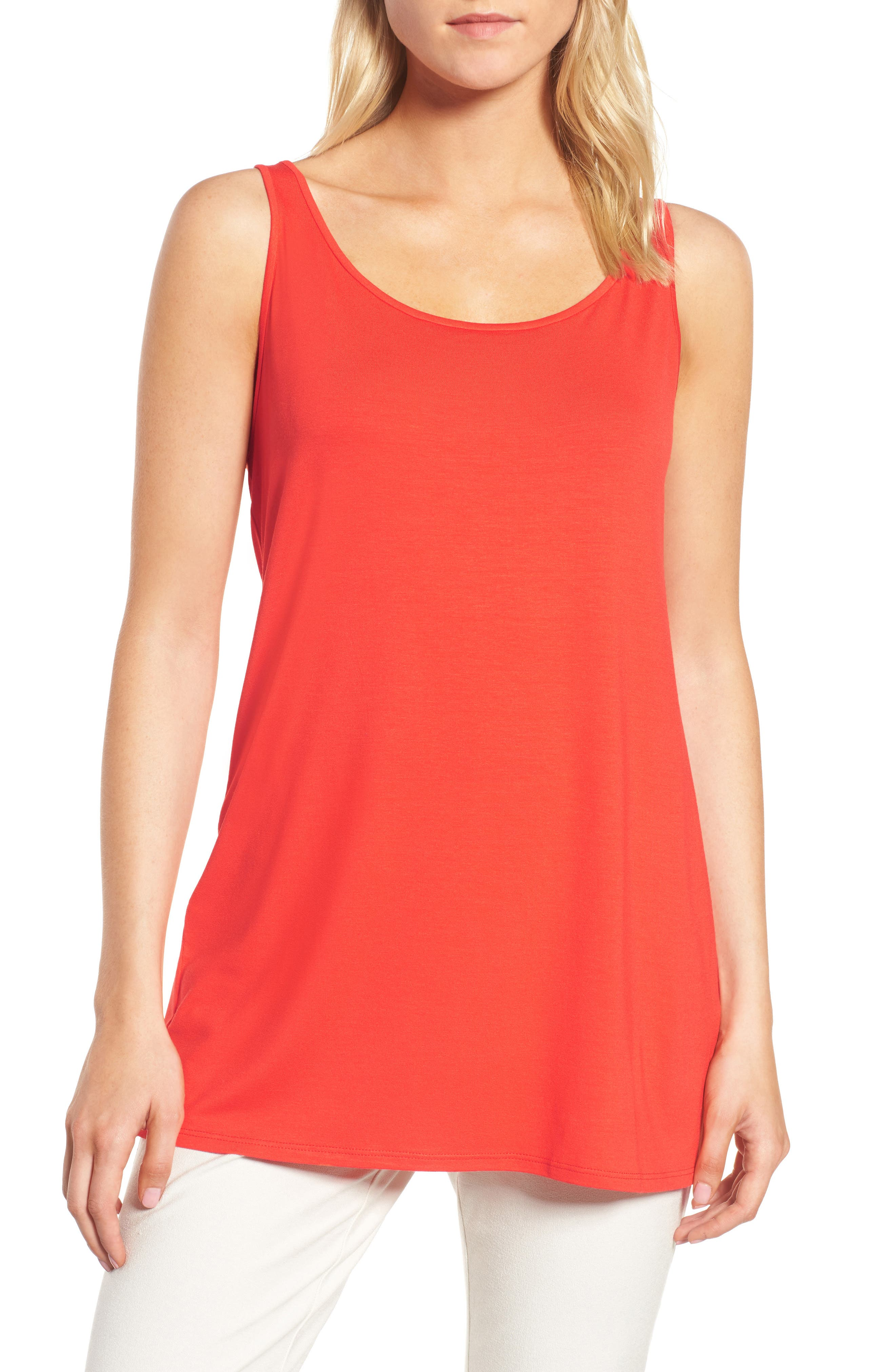Jersey Scoop Neck Long Tank,                         Main,                         color, Hot Red