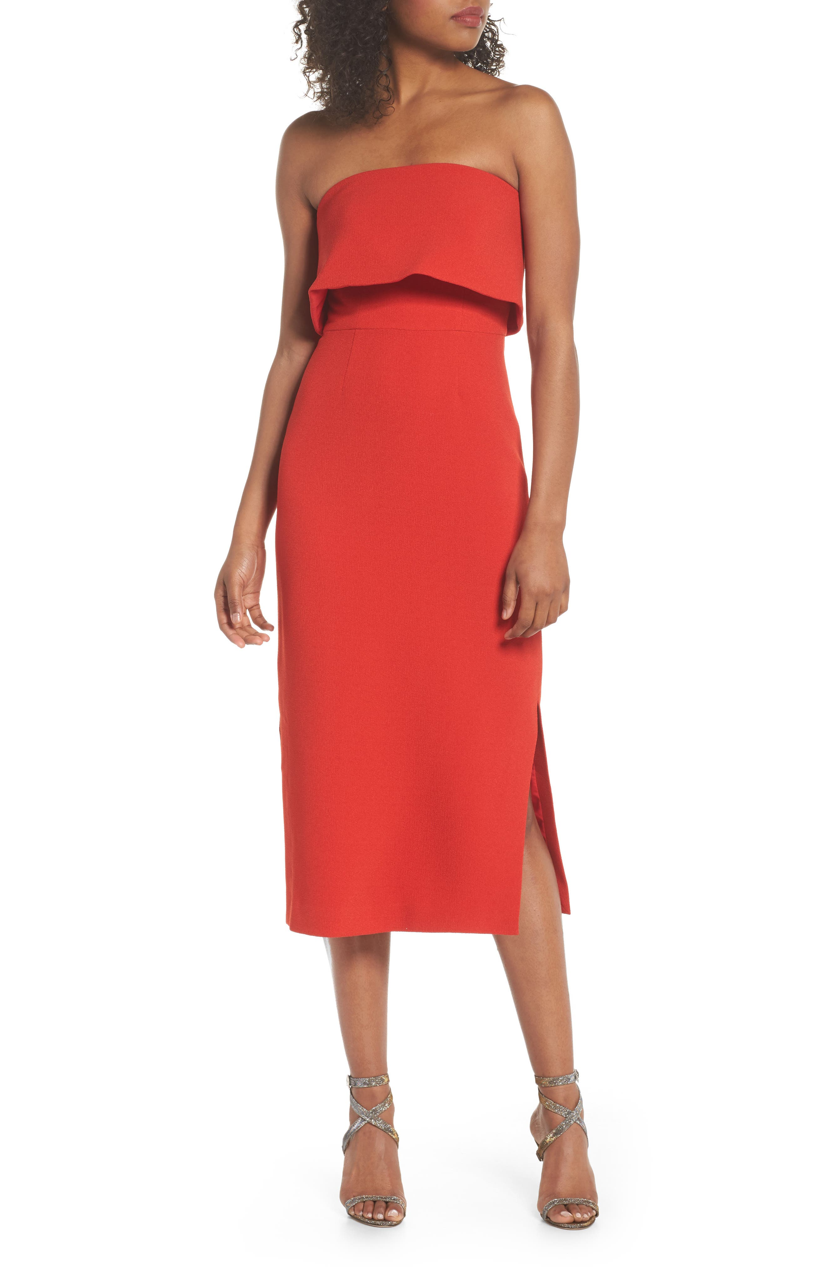Entice Strapless Midi Dress,                             Main thumbnail 1, color,                             Red
