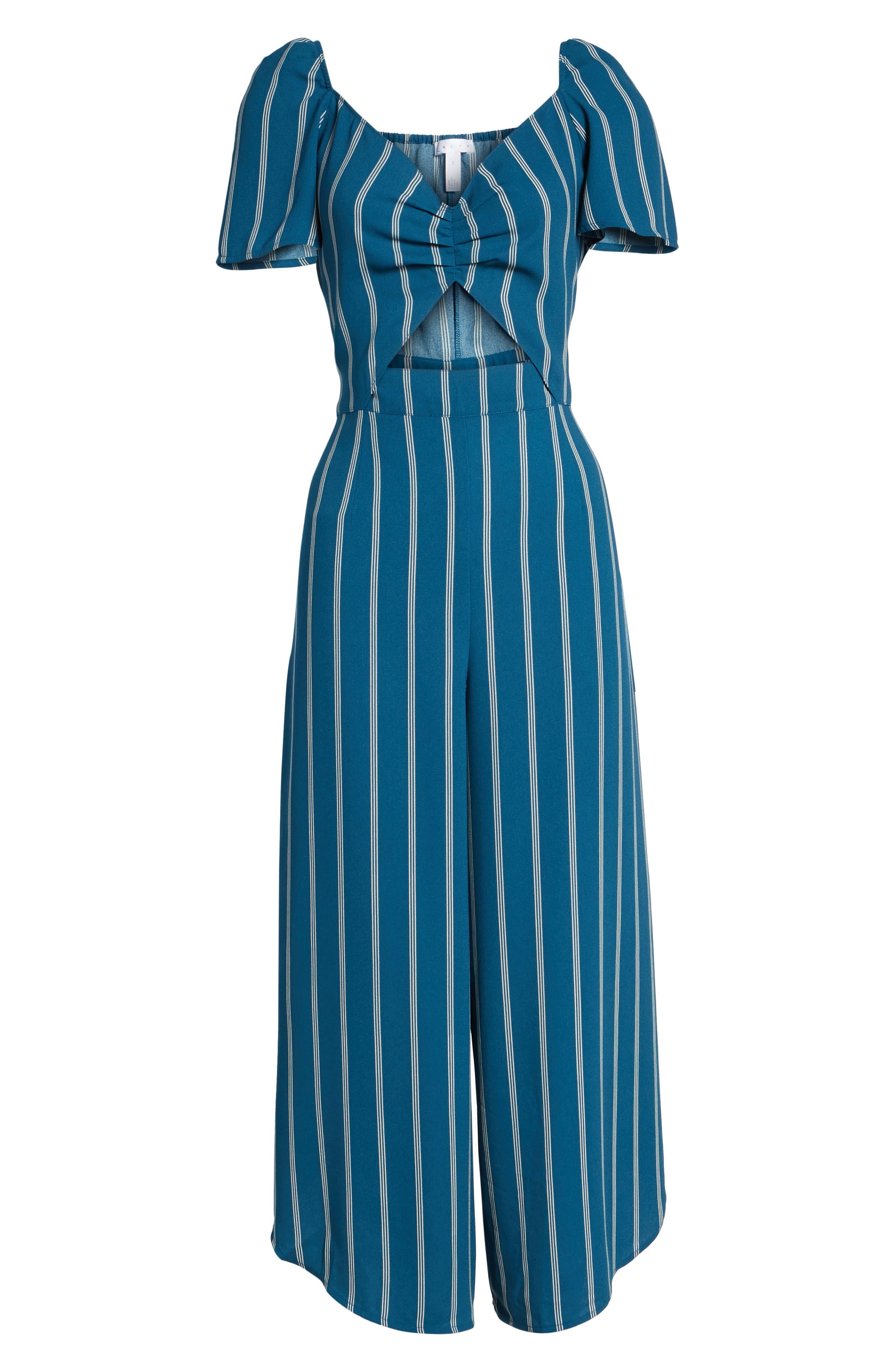 Cutout Culotte Jumpsuit,                             Alternate thumbnail 6, color,                             Teal Seagate Pinstripe