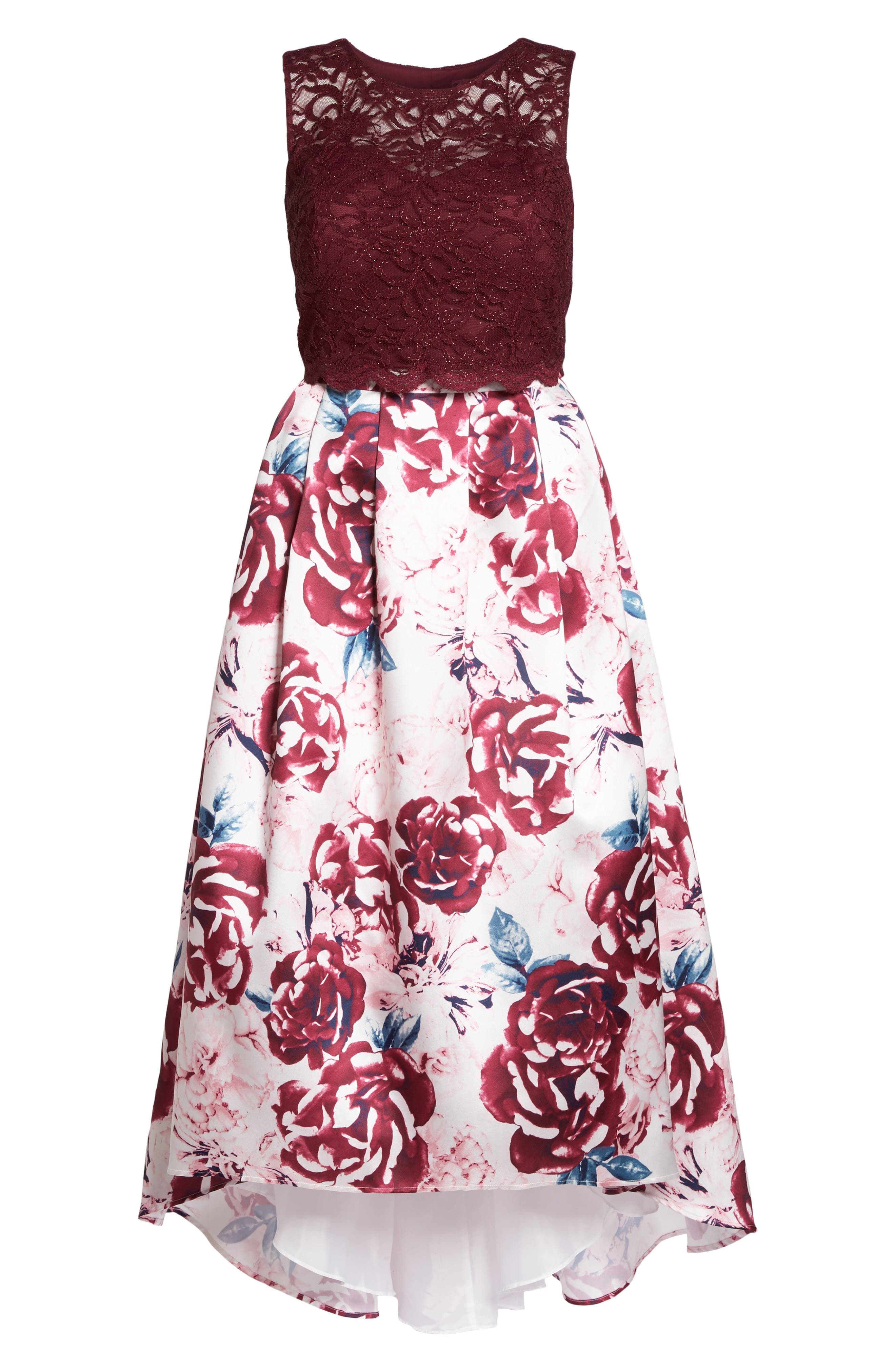 Lace Top & Mikado Skirt Two-Piece Gown,                             Alternate thumbnail 6, color,                             Merlot/ Pink/ Ivory
