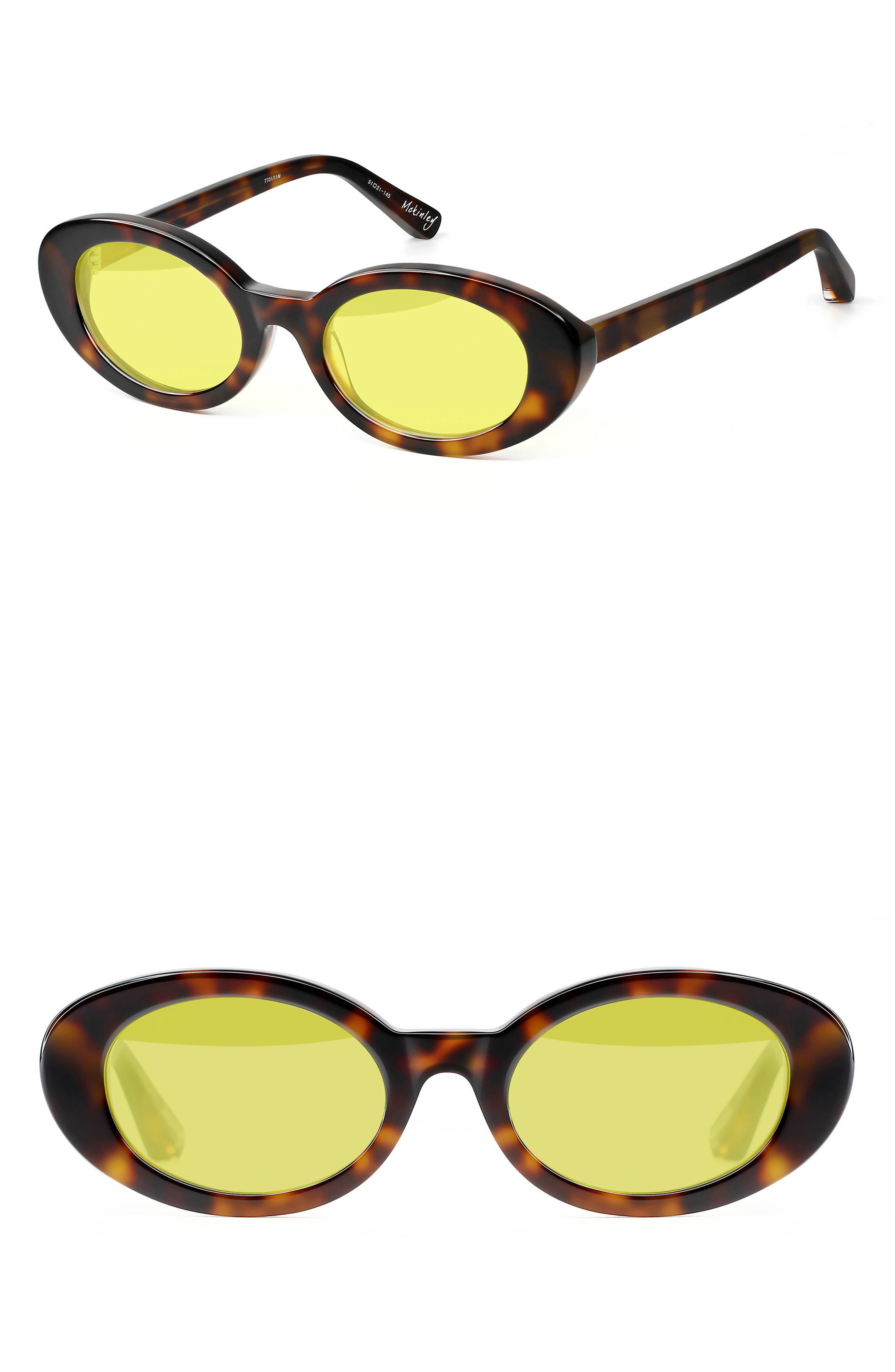 McKinely 51mm Oval Sunglasses,                         Main,                         color, Tortoise/ Yellow