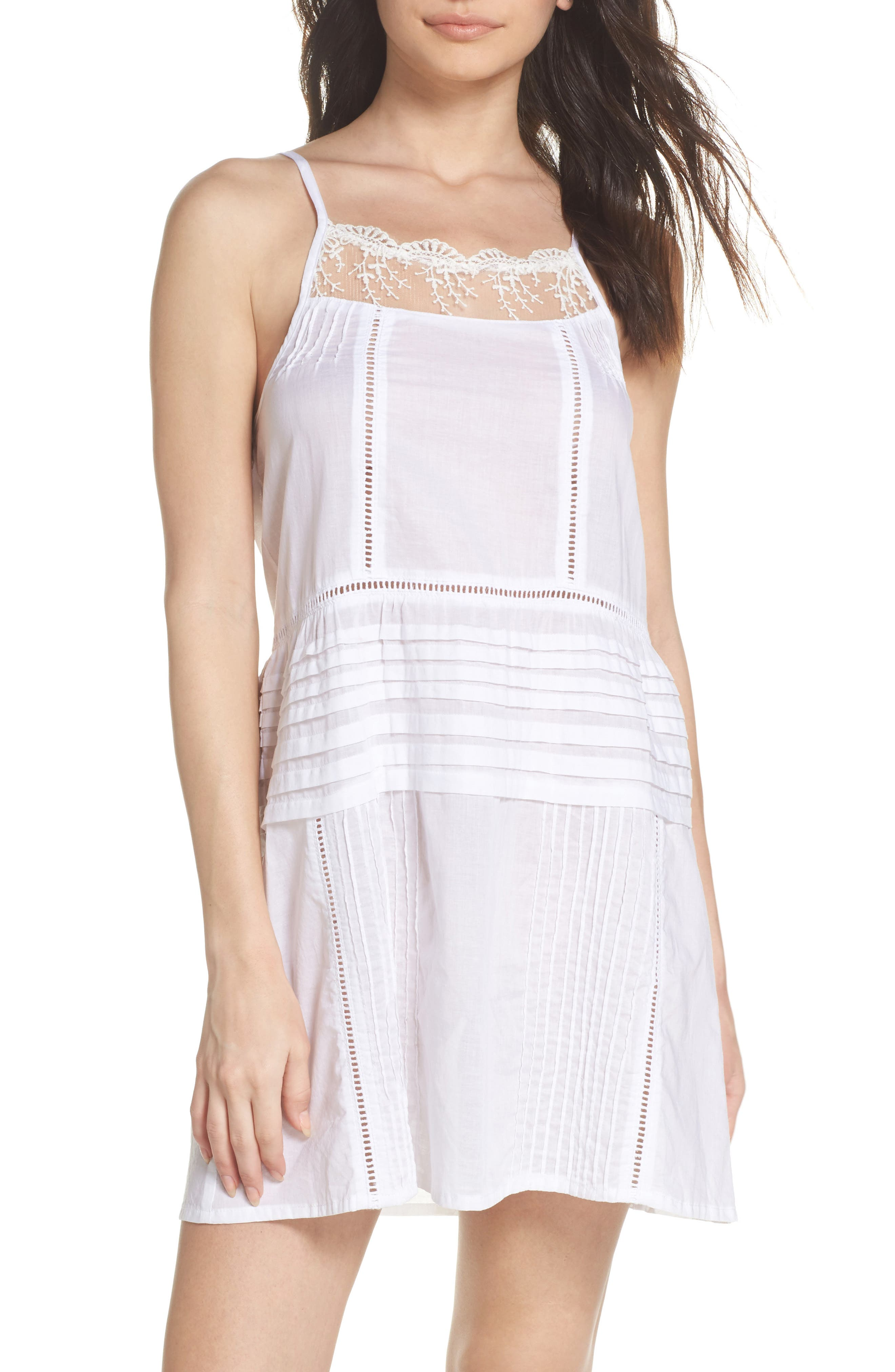 Embroidered Lace Chemise,                         Main,                         color, White