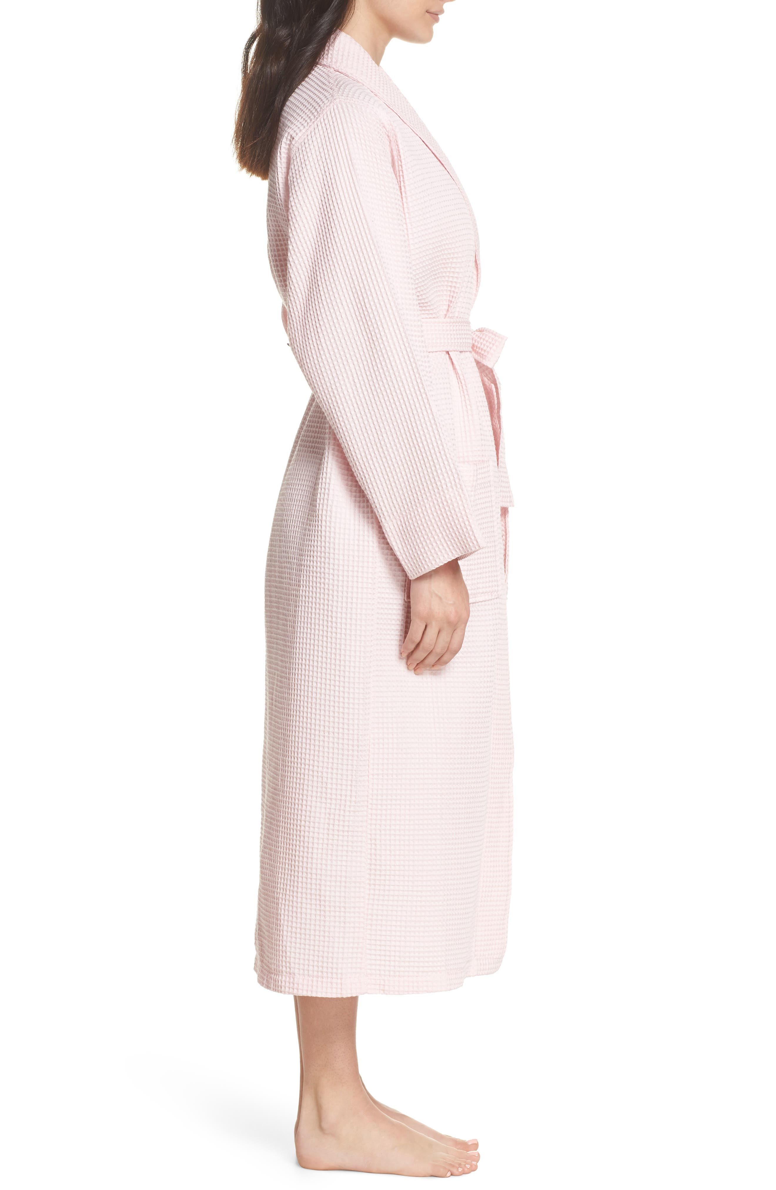Waffle Knit Cotton Robe,                             Alternate thumbnail 3, color,                             Ice Pink
