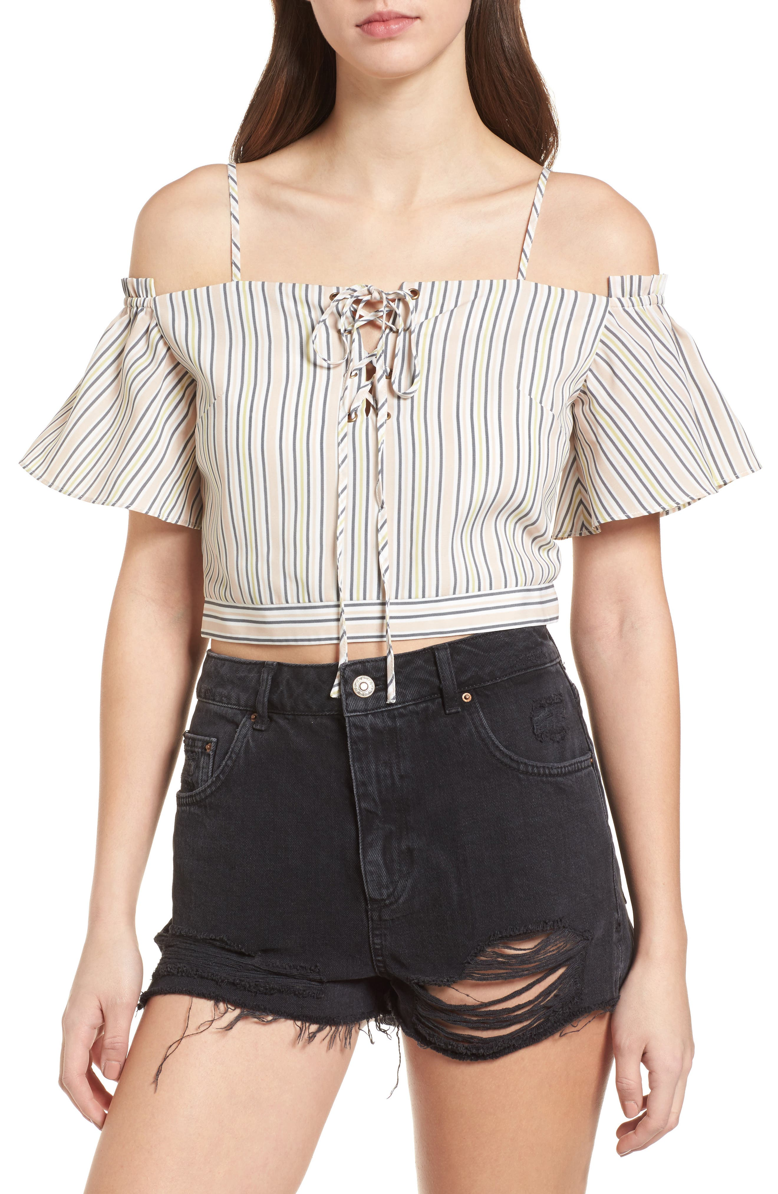 Off the Shoulder Crop Top,                             Main thumbnail 1, color,                             Blush Stripe