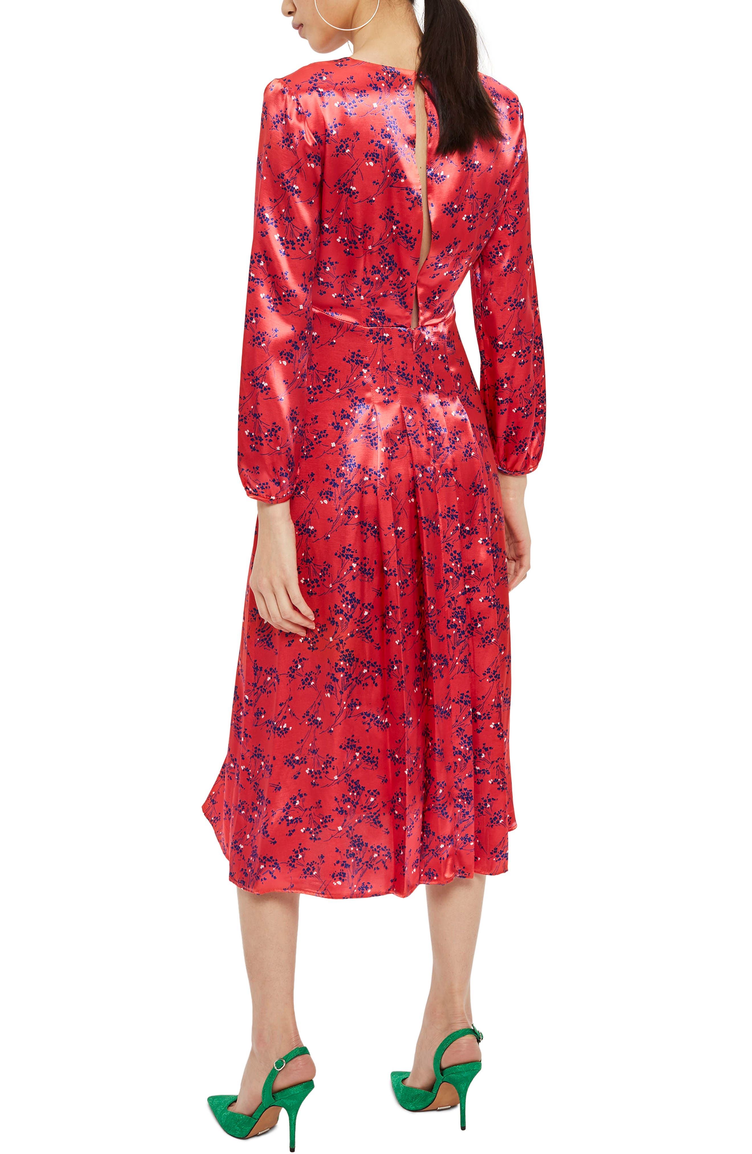Wispy Floral Print Midi Dress,                             Alternate thumbnail 2, color,                             Red