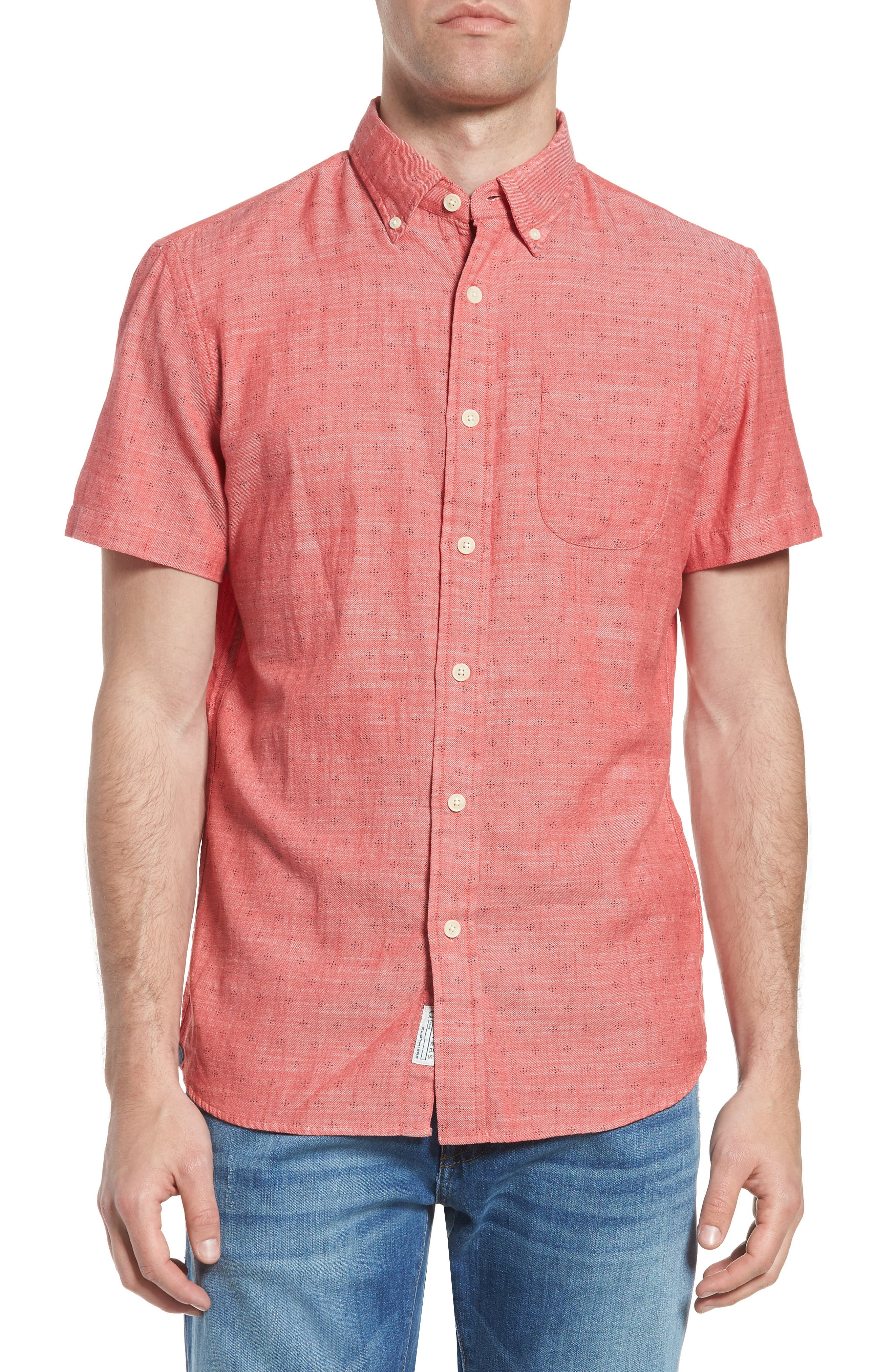 Pearson Print Short Sleeve Sport Shirt,                             Main thumbnail 1, color,                             Red Twill