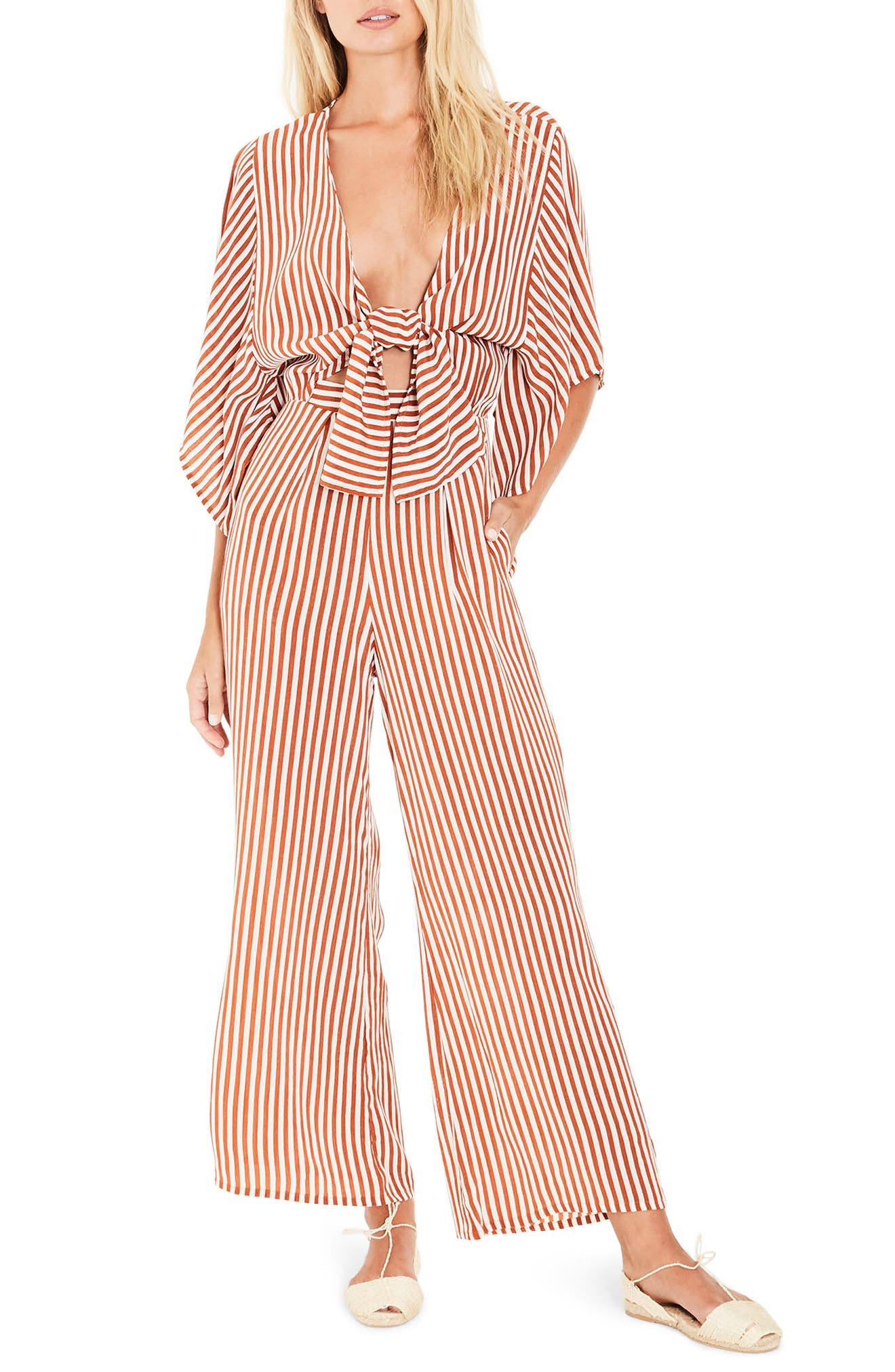 FAITHFULL THE BRAND Tilos Stripe Tie Front Jumpsuit