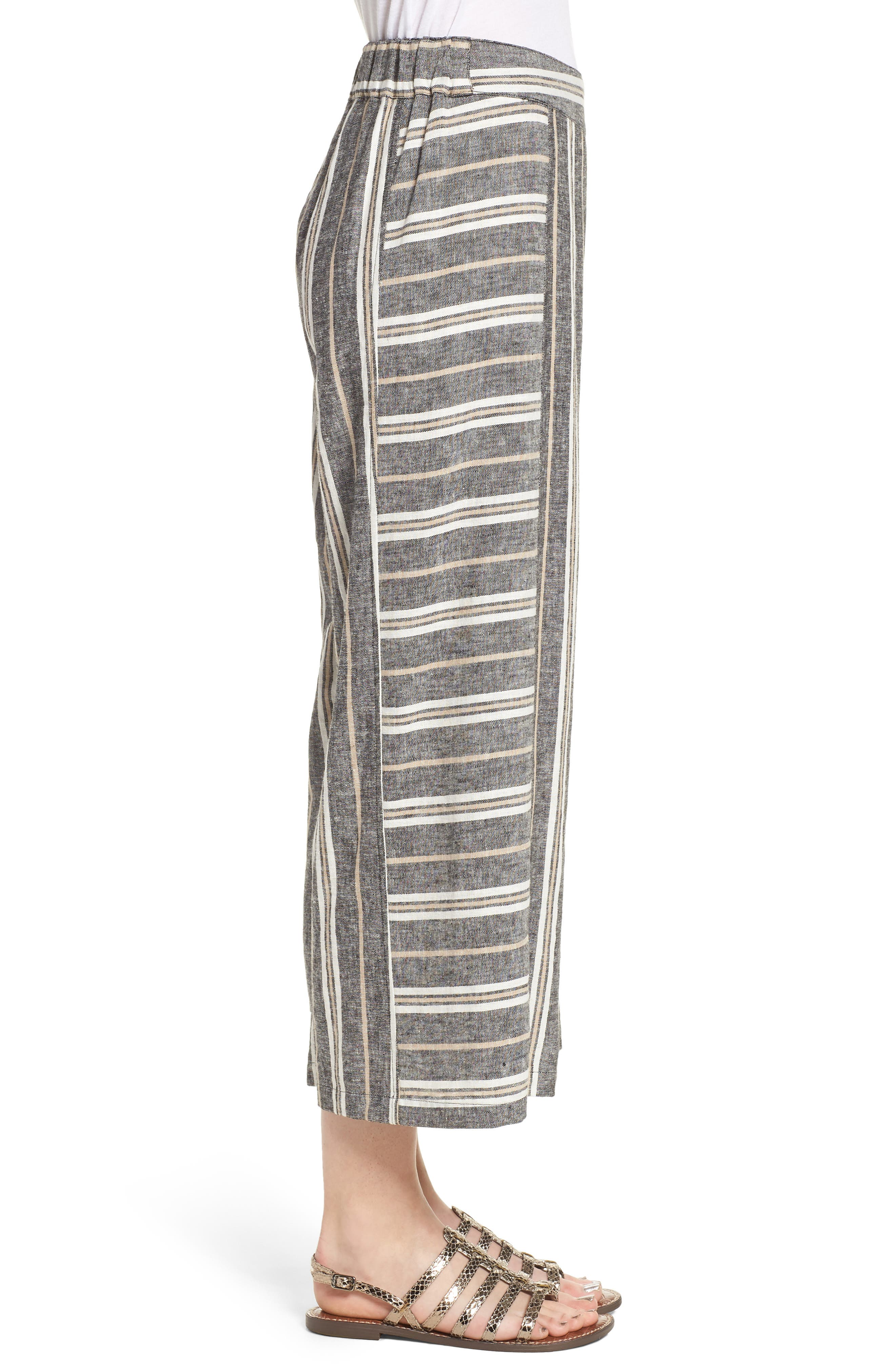 Stripe Linen Blend Pants,                             Alternate thumbnail 3, color,                             Black Betsty Stripe