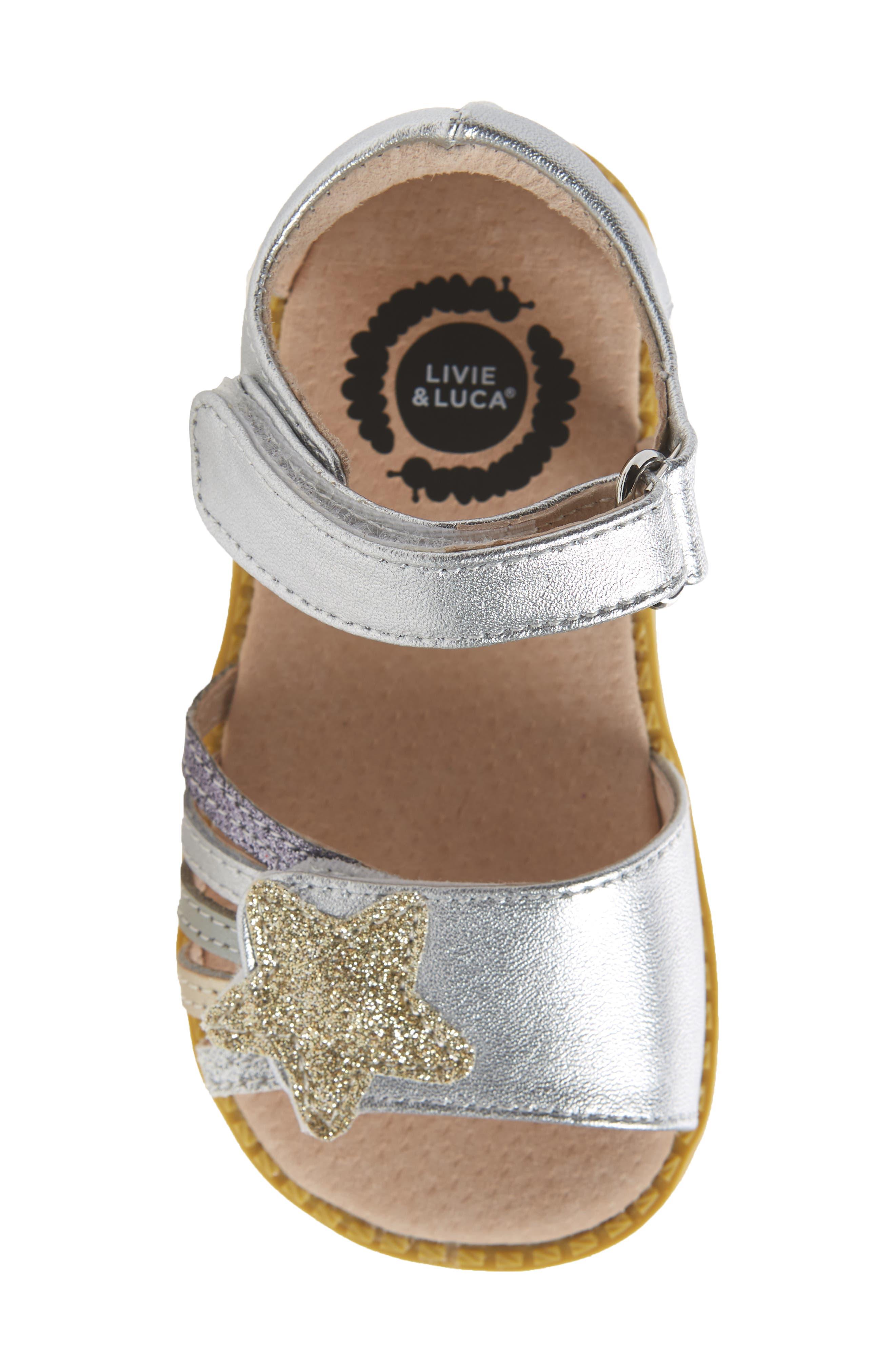 'Nova' Sandal (Baby, Walker & Toddler,                             Alternate thumbnail 5, color,                             Silver Sparkle