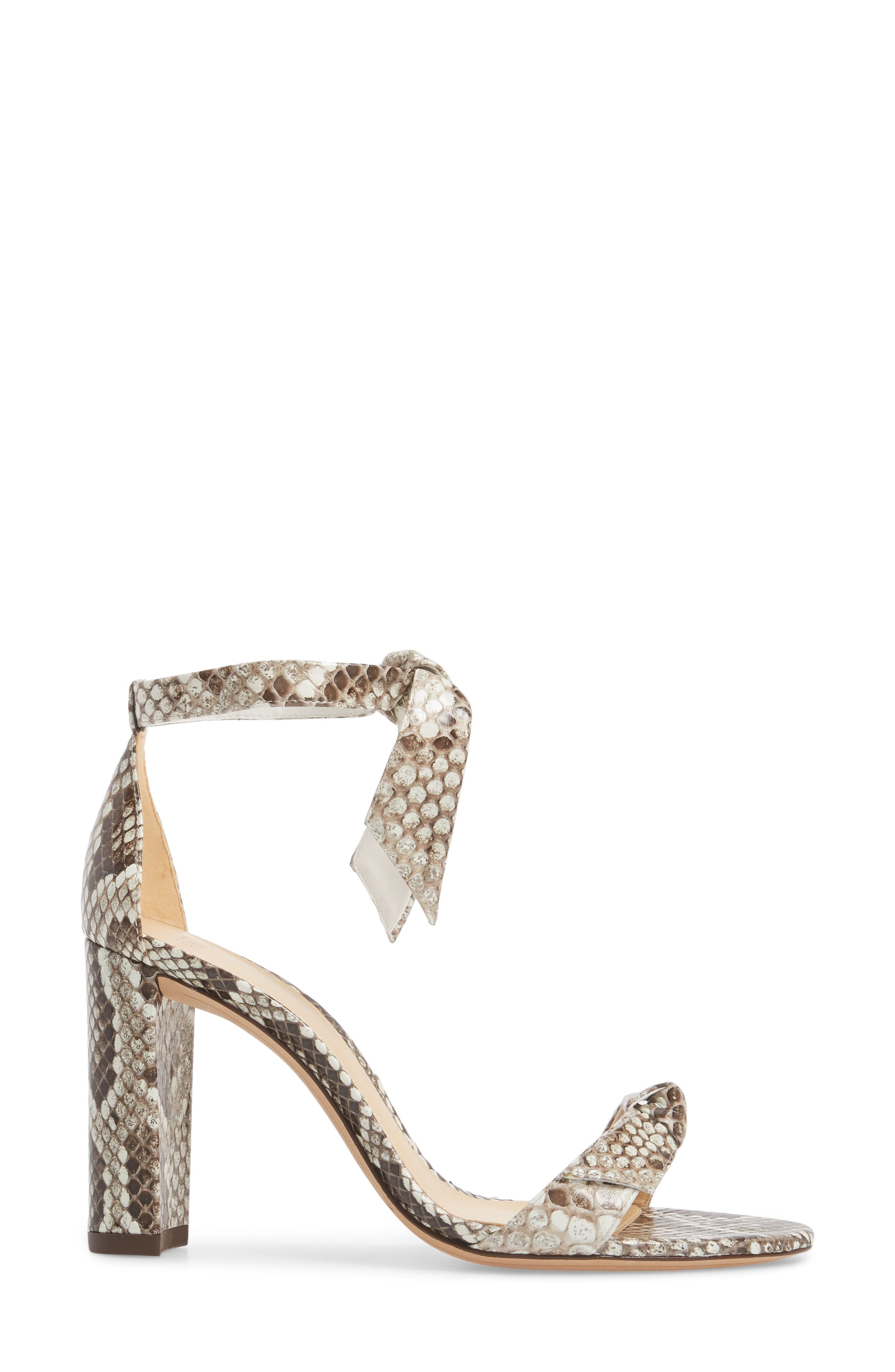 Clarita Genuine Python Ankle Tie Sandal,                             Alternate thumbnail 3, color,                             Natural