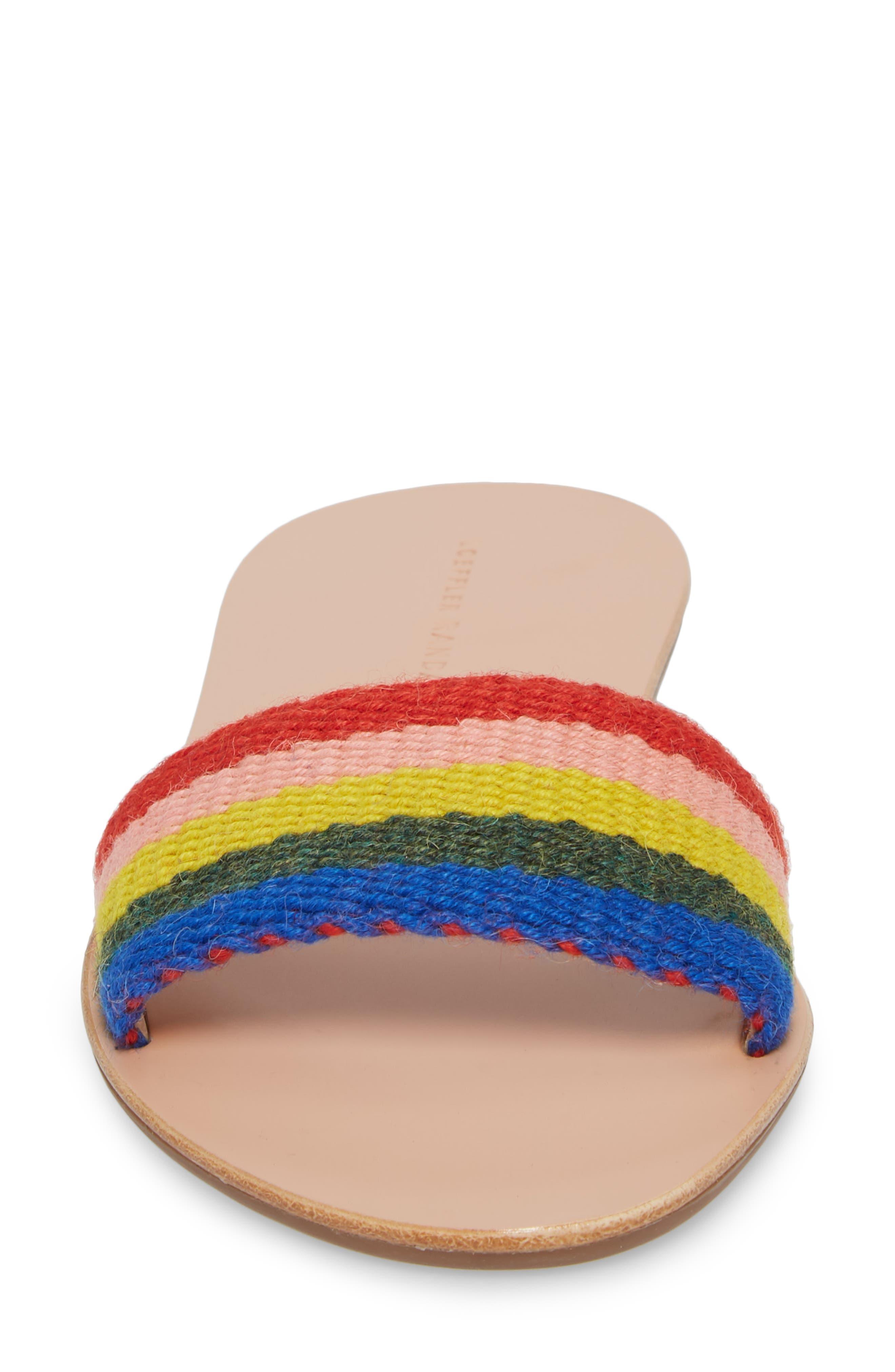 Stella Woven Slide Sandal,                             Alternate thumbnail 4, color,                             Rainbow Fabric