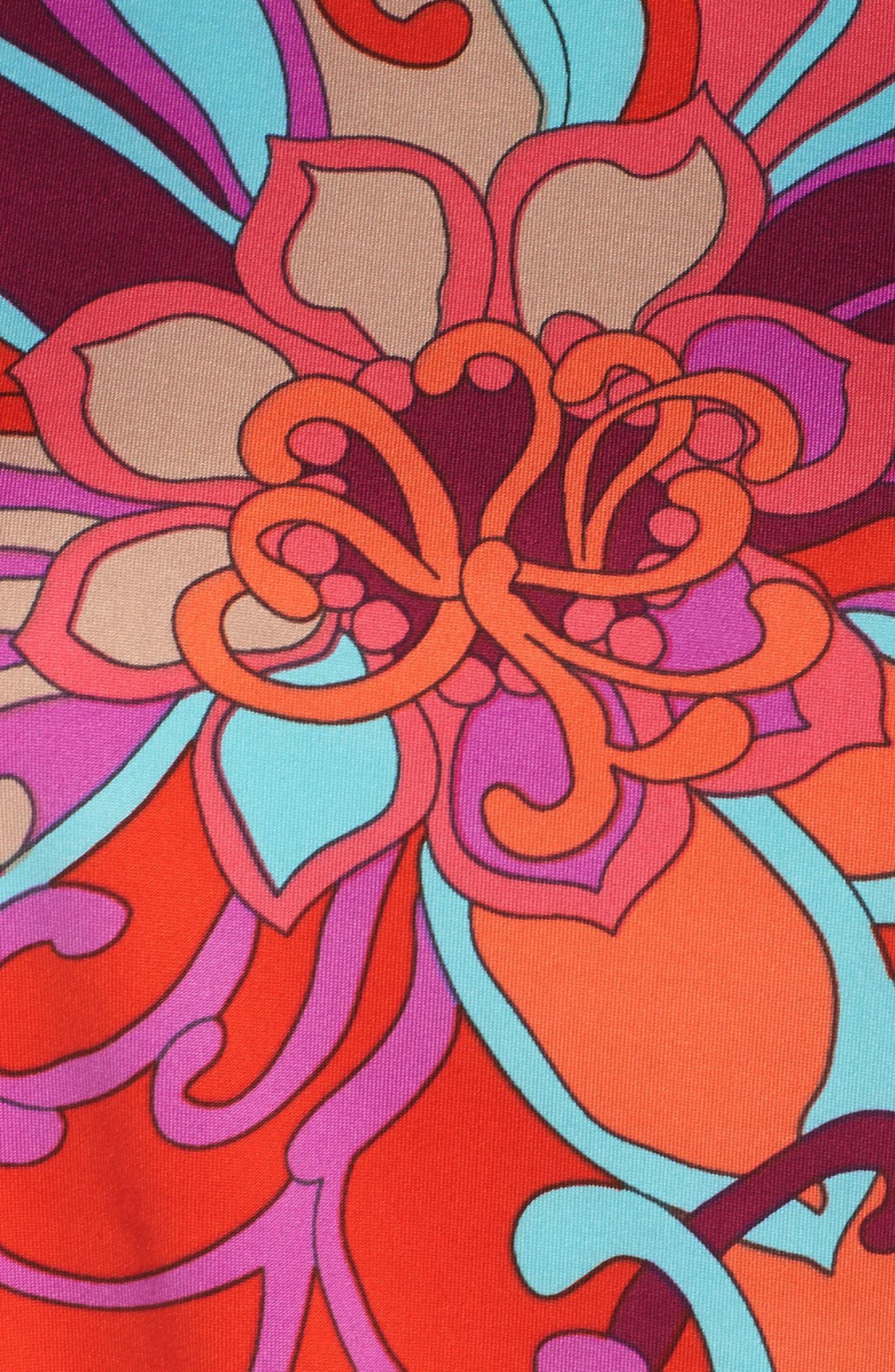 Bernice Print Dress,                             Alternate thumbnail 5, color,                             Coral Lily