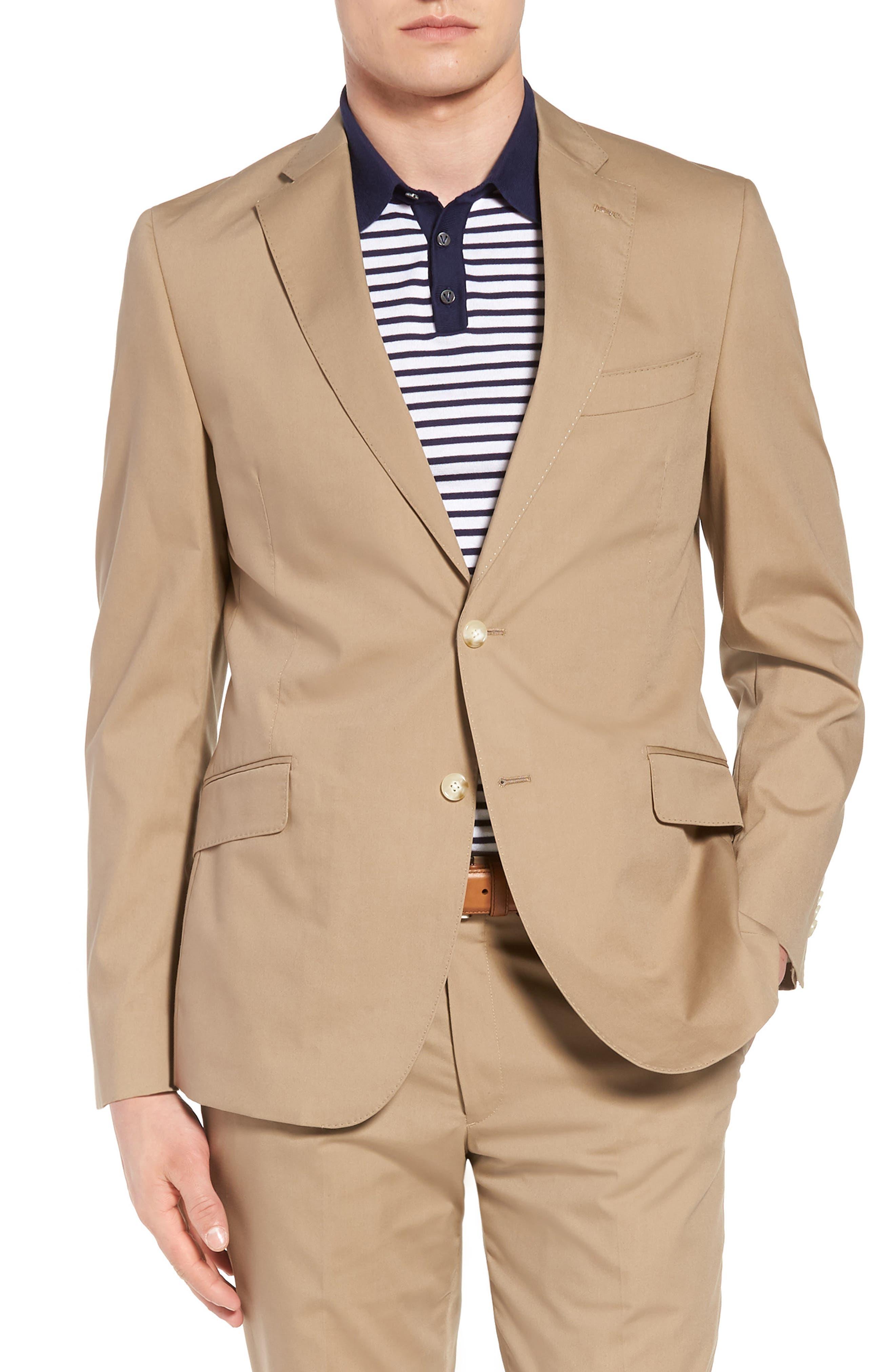 Irons AIM Classic Fit Solid Cotton Blend Suit,                             Alternate thumbnail 5, color,                             Khaki