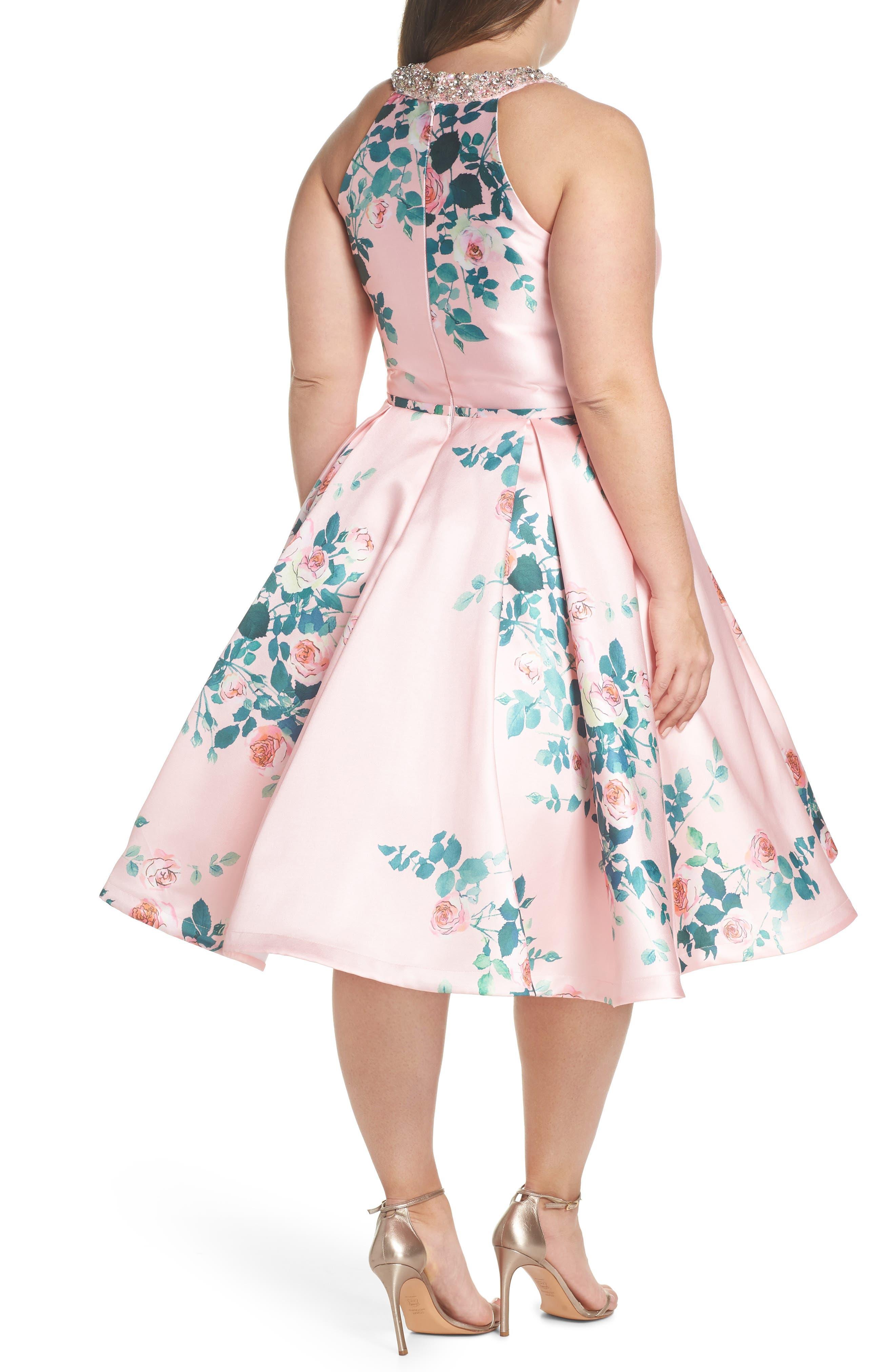 Floral Print Fit & Flare Dress,                             Alternate thumbnail 2, color,                             Pink Rose