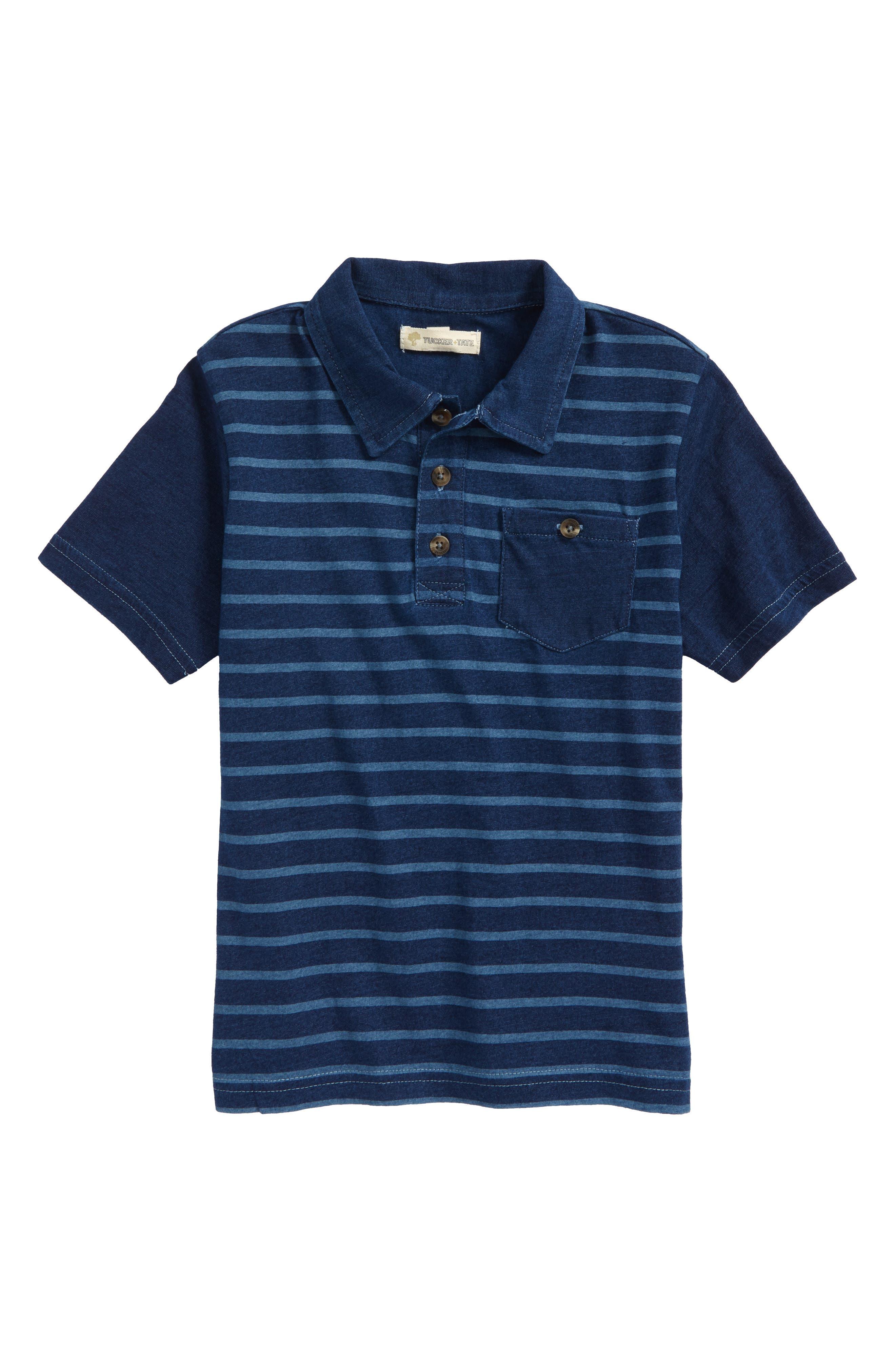 Stripe Polo,                         Main,                         color, Navy Denim Stripe