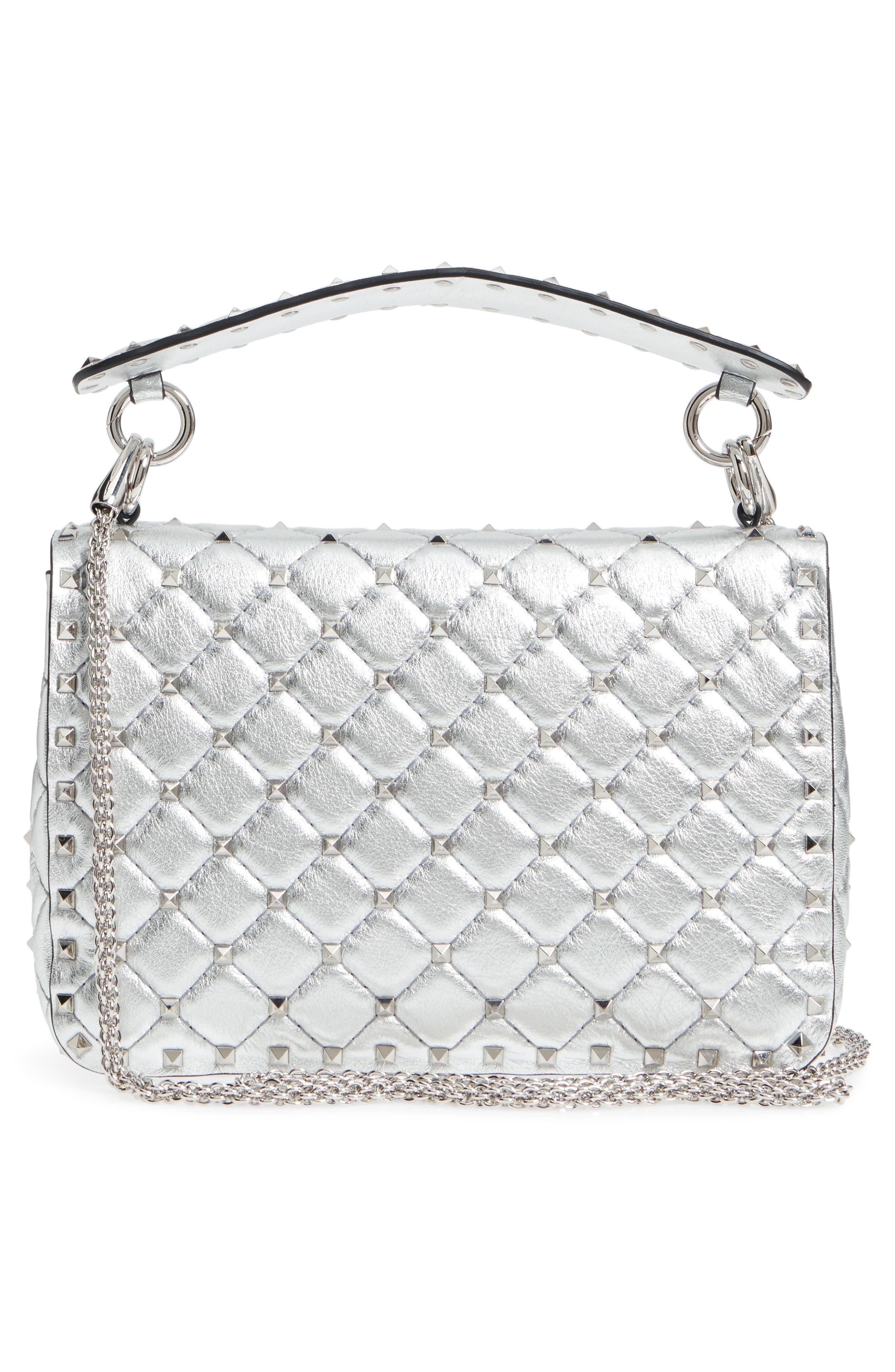 Medium Rockstud Spike Metallic Leather Shoulder Bag,                             Alternate thumbnail 3, color,                             Silver