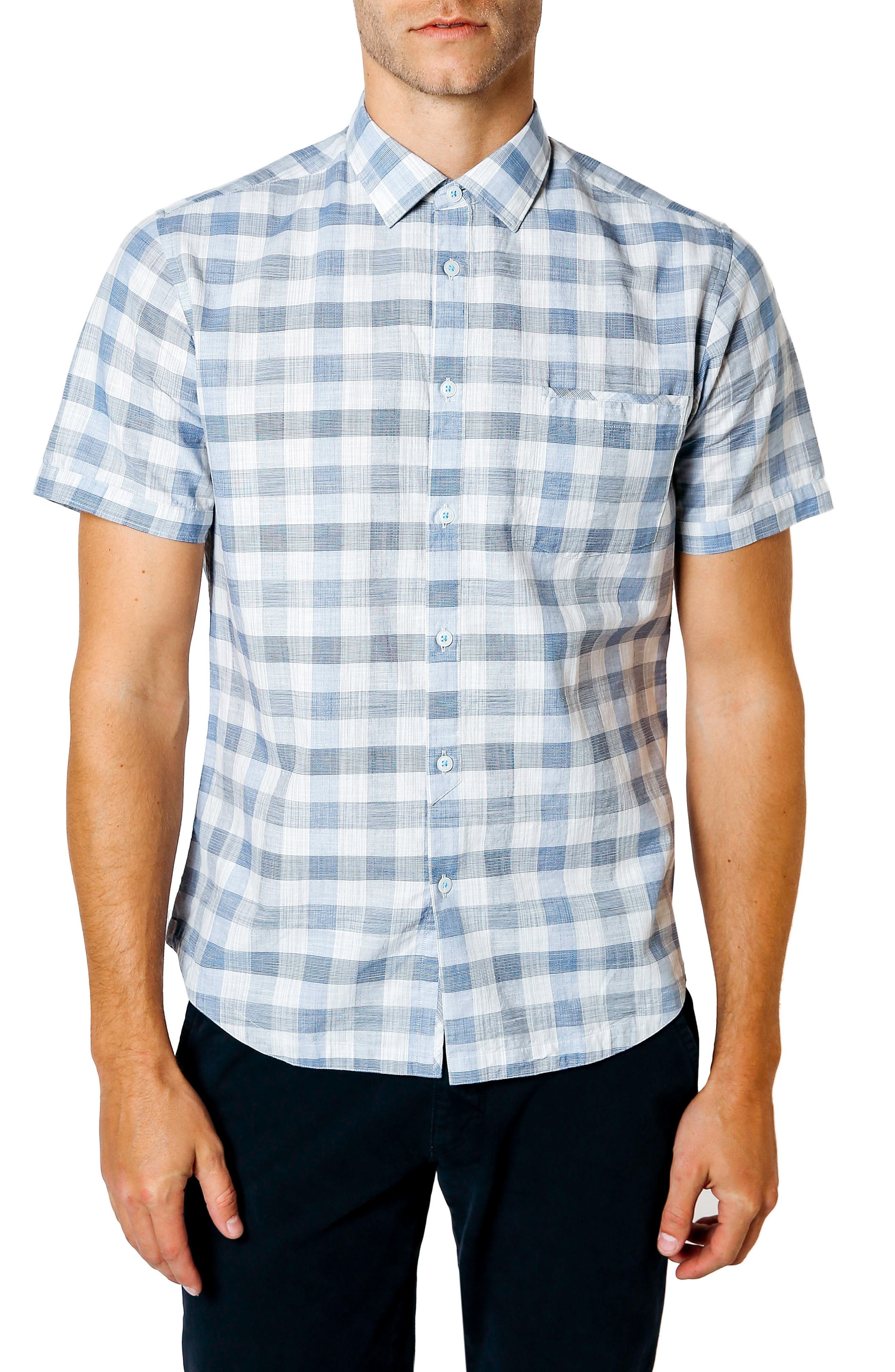 Trim Fit Check Sport Shirt,                             Main thumbnail 1, color,                             Blue
