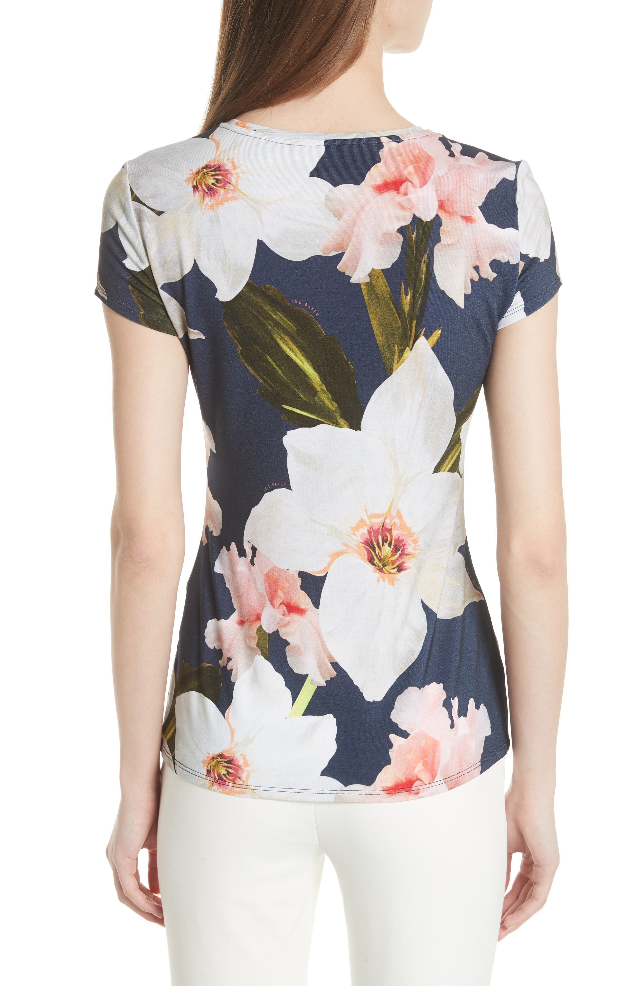 Chatsworth Bloom Fitted Tee,                             Alternate thumbnail 2, color,                             Navy