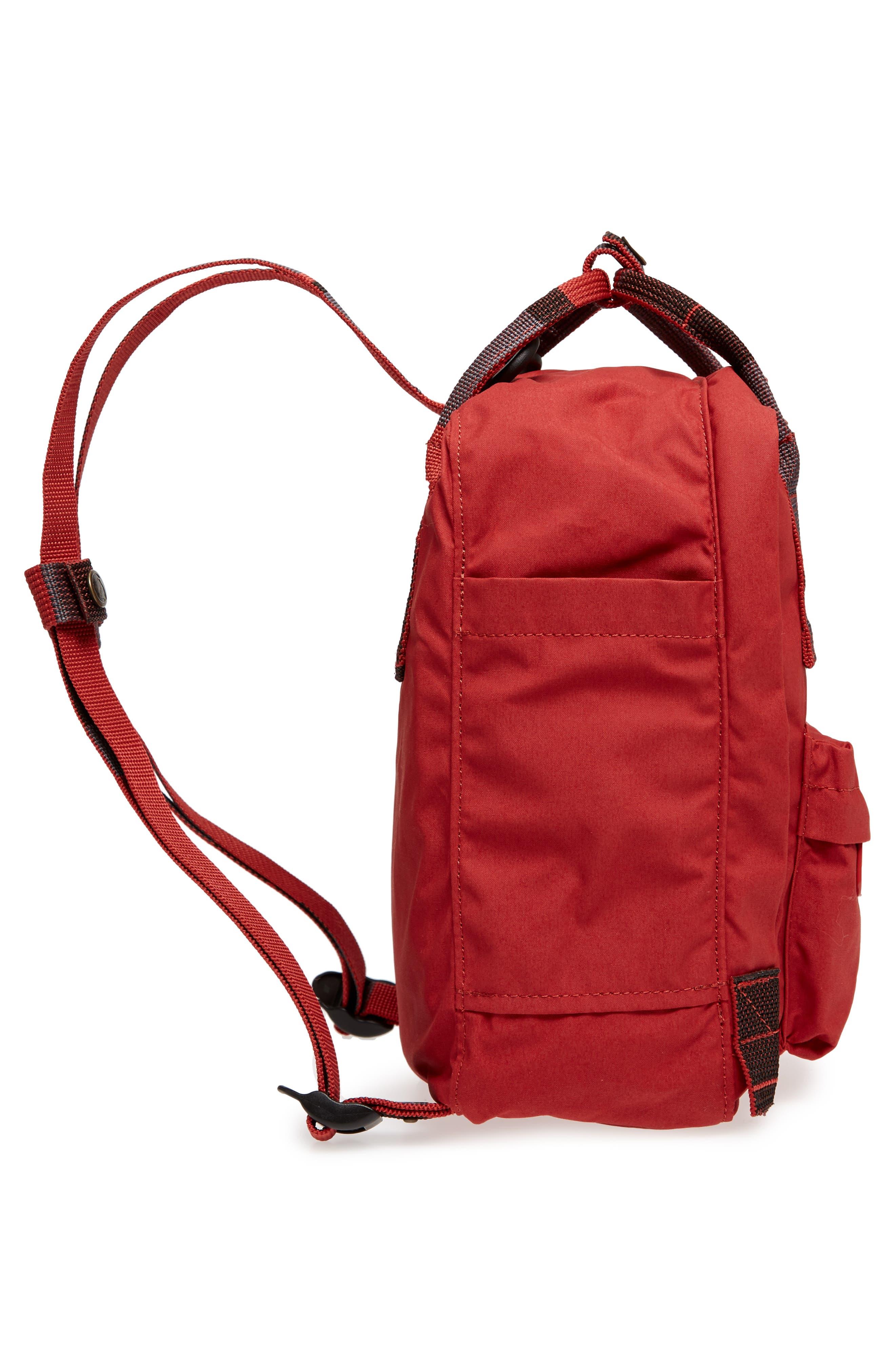 'Mini Kånken' Water Resistant Backpack,                             Alternate thumbnail 4, color,                             Deep Red Blocked