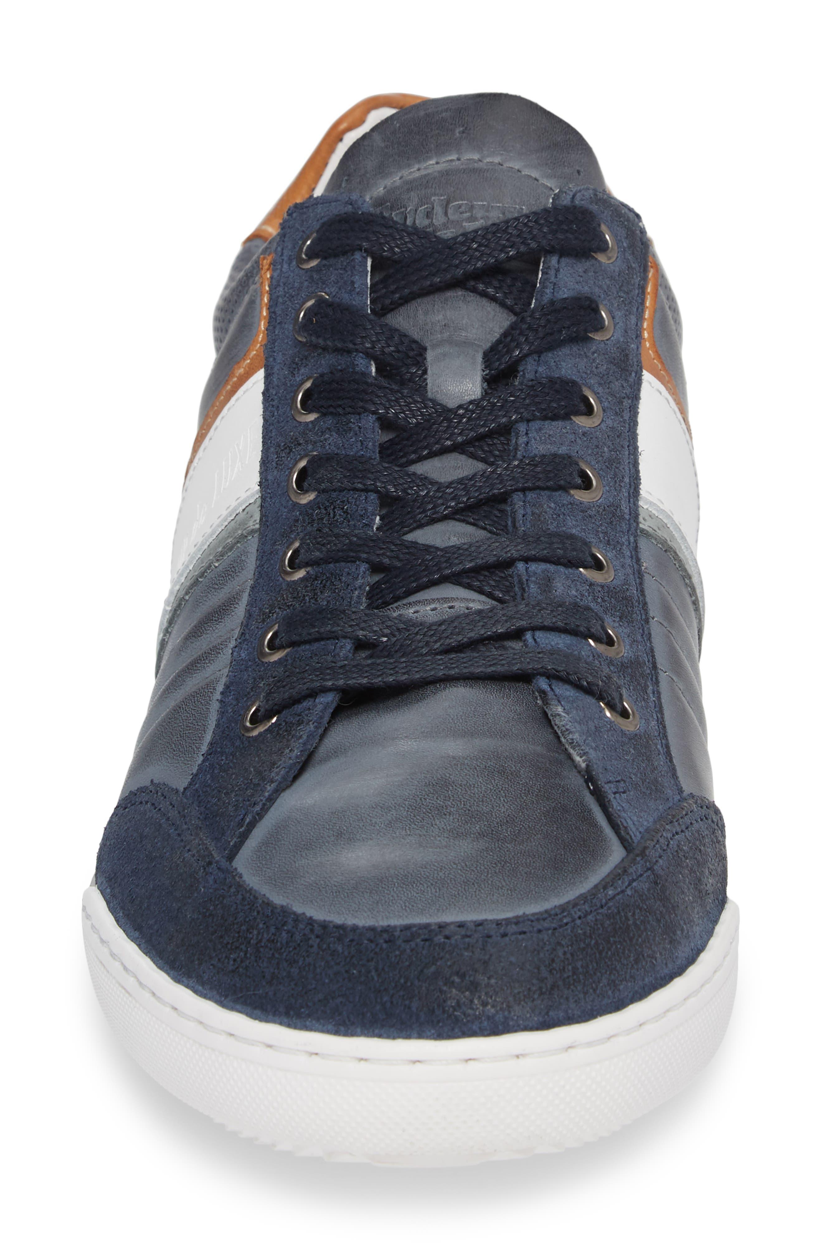 Solo Low Top Sneaker,                             Alternate thumbnail 4, color,                             Denim/ White/ Cognac Leather