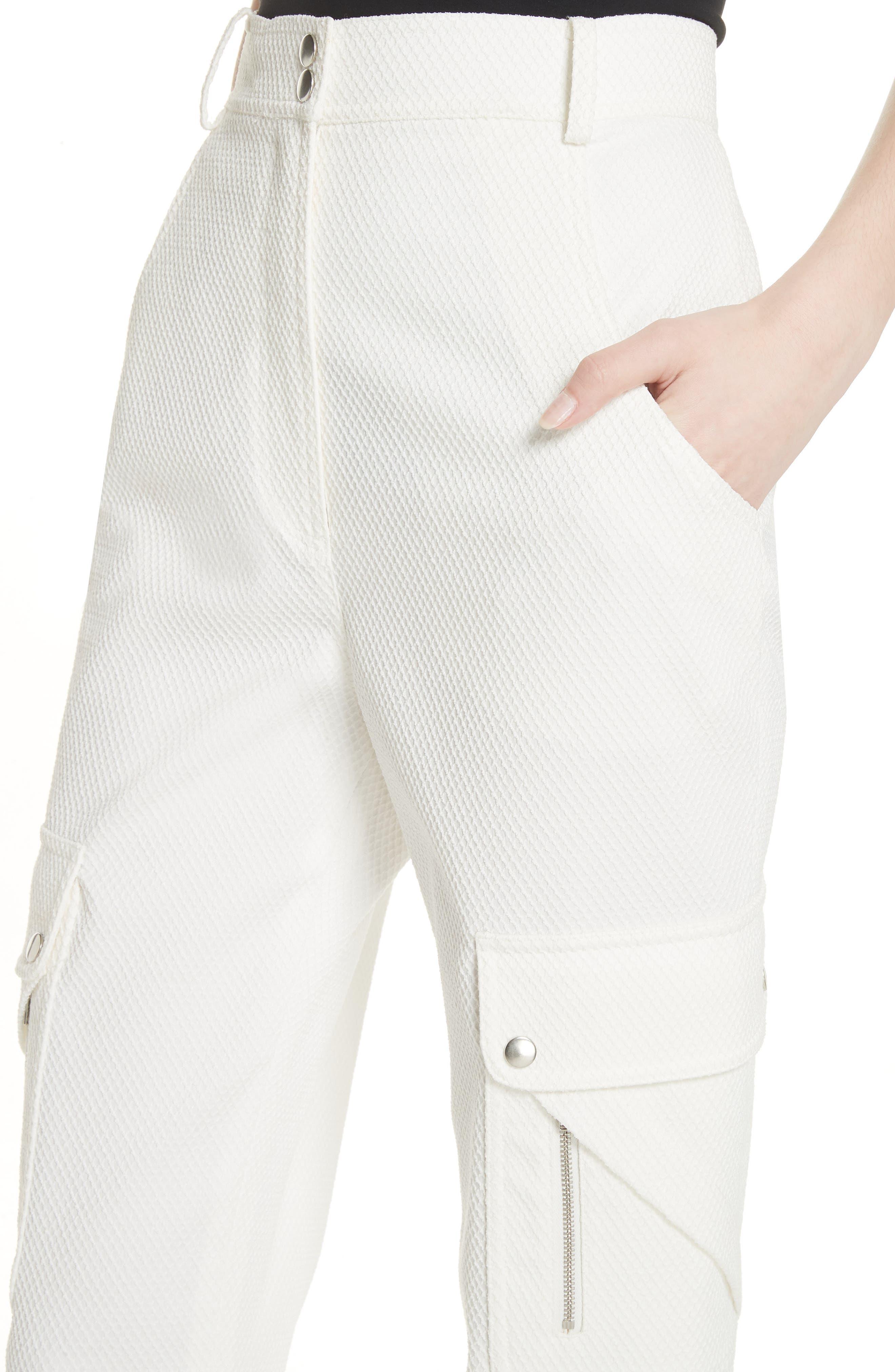Textured Stretch Cotton Blend Utility Pants,                             Alternate thumbnail 4, color,                             Soft White