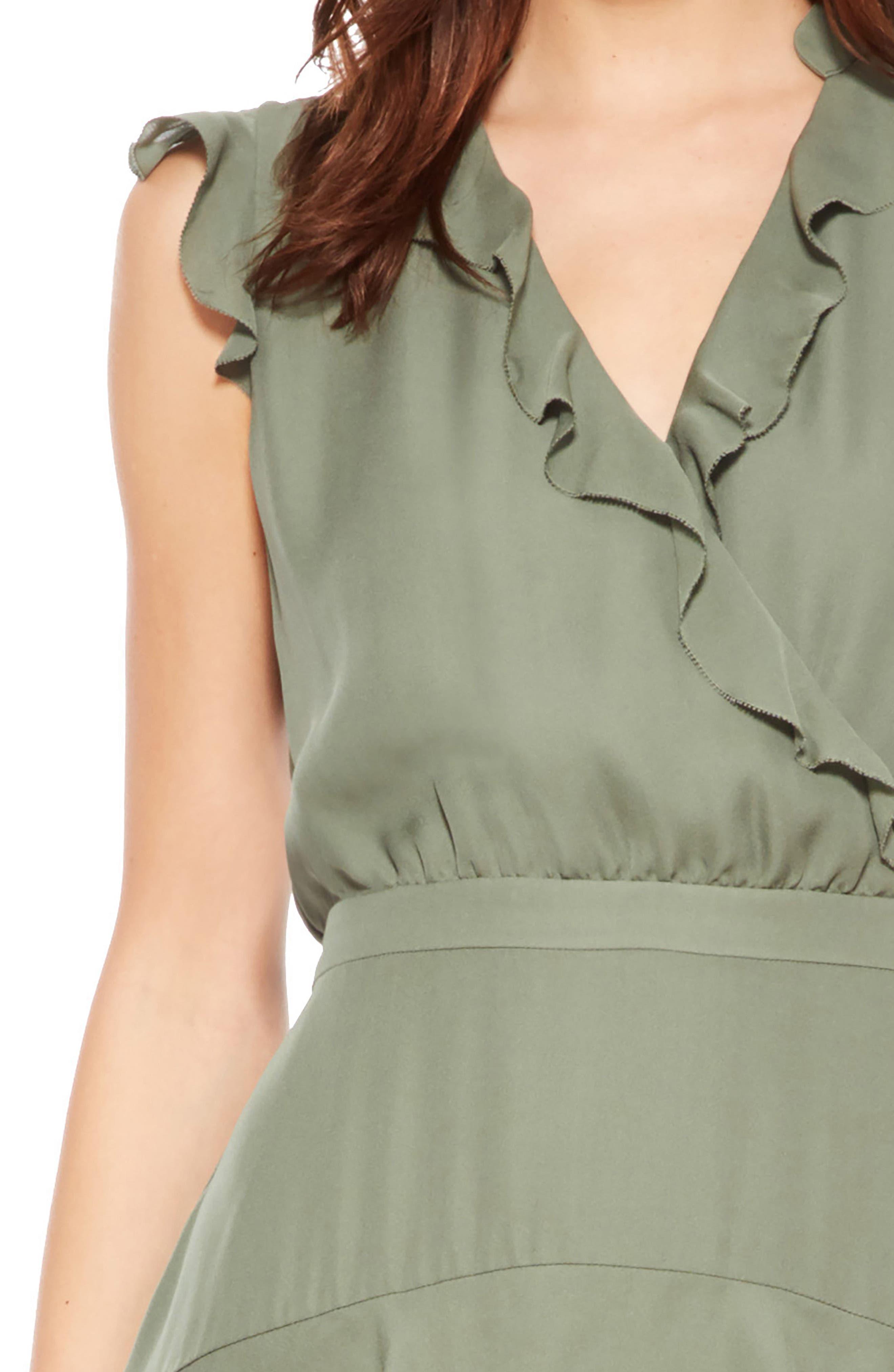 Tangia Silk Dress,                             Alternate thumbnail 4, color,                             Greenbriar