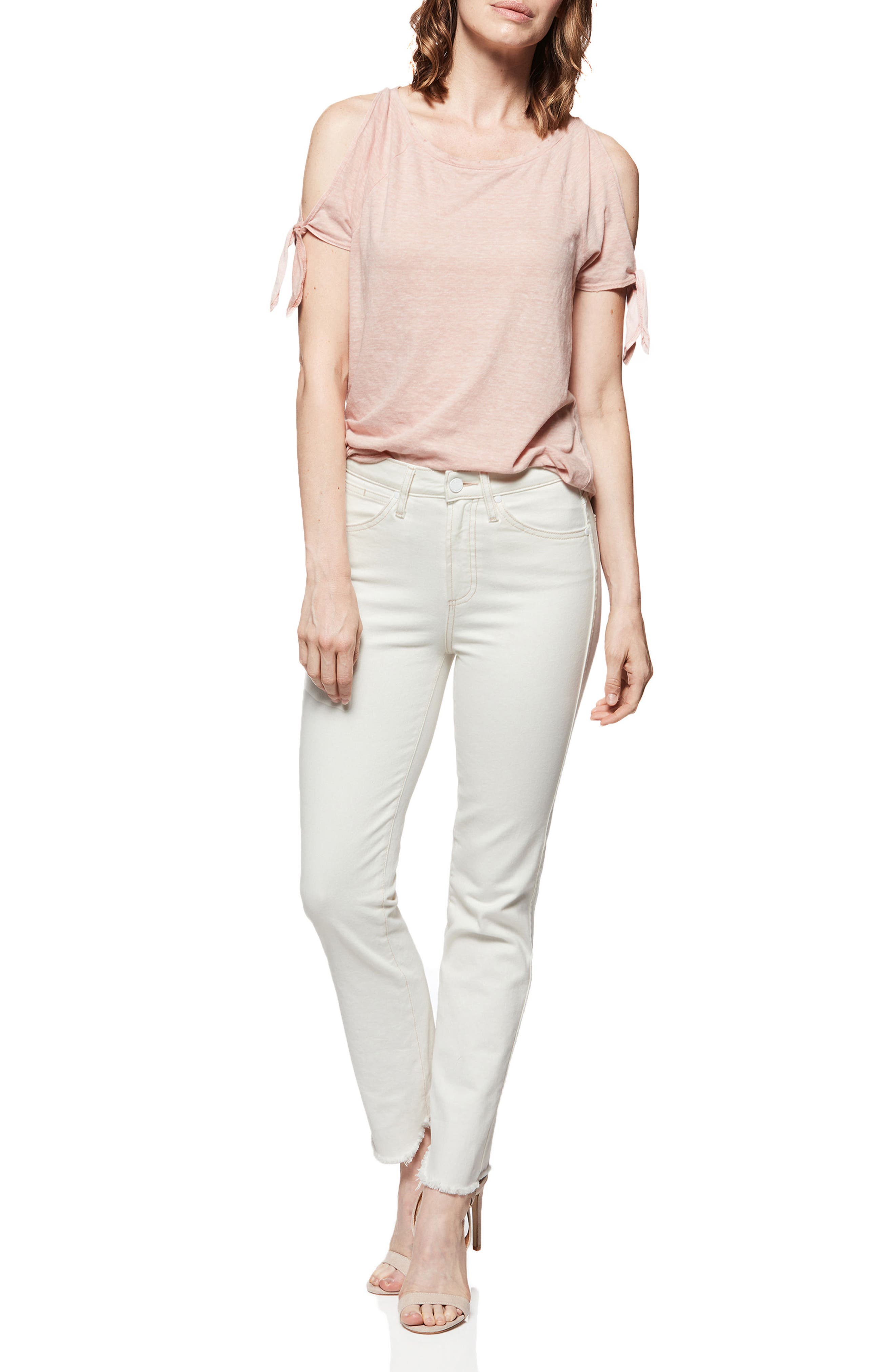 Hoxton High Waist Ankle Straight Jeans,                             Alternate thumbnail 3, color,                             Cream/ Pink