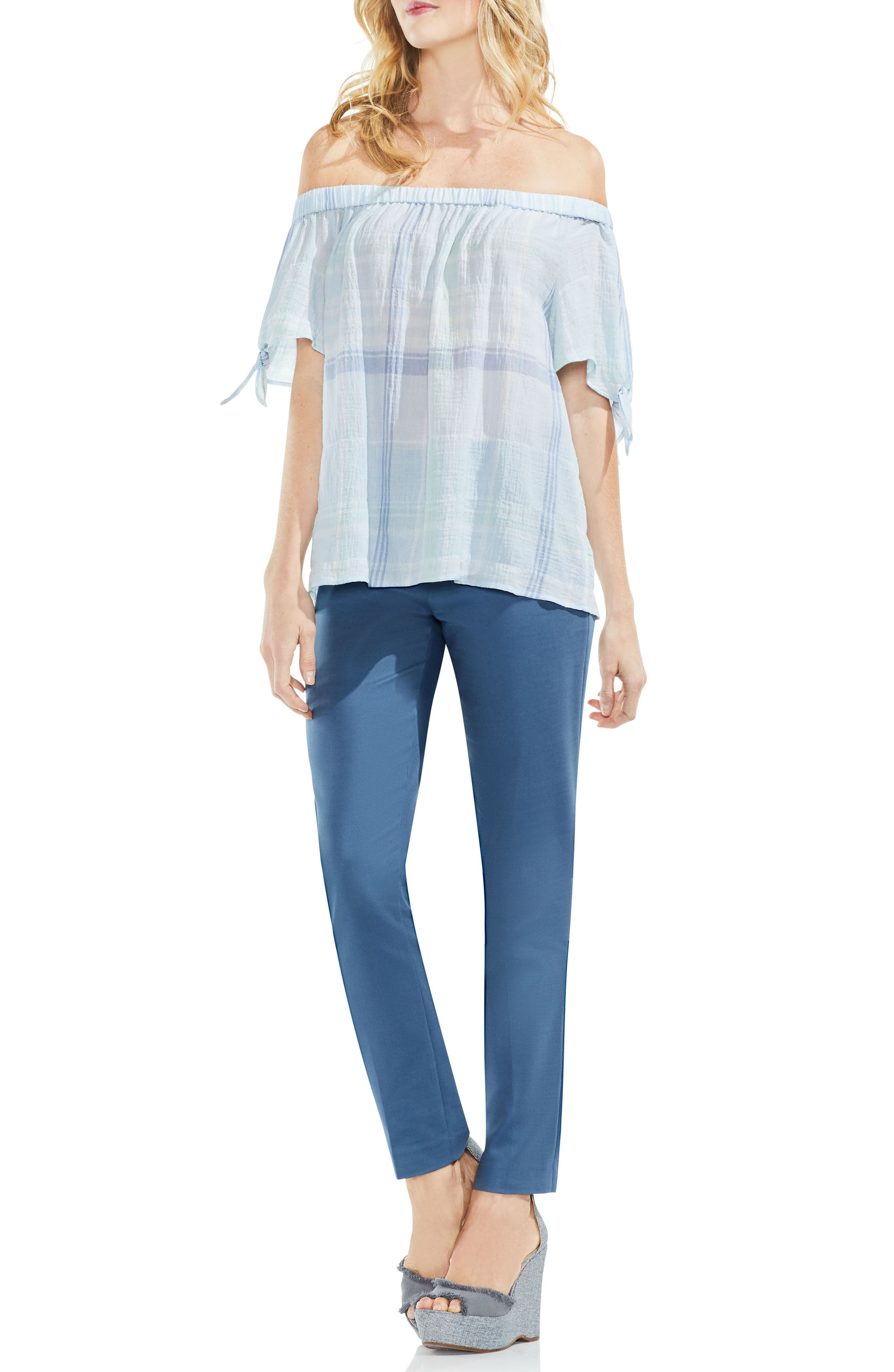 Crinkle Stretch Cotton Off the Shoulder Top,                             Alternate thumbnail 3, color,                             Chalk Blue