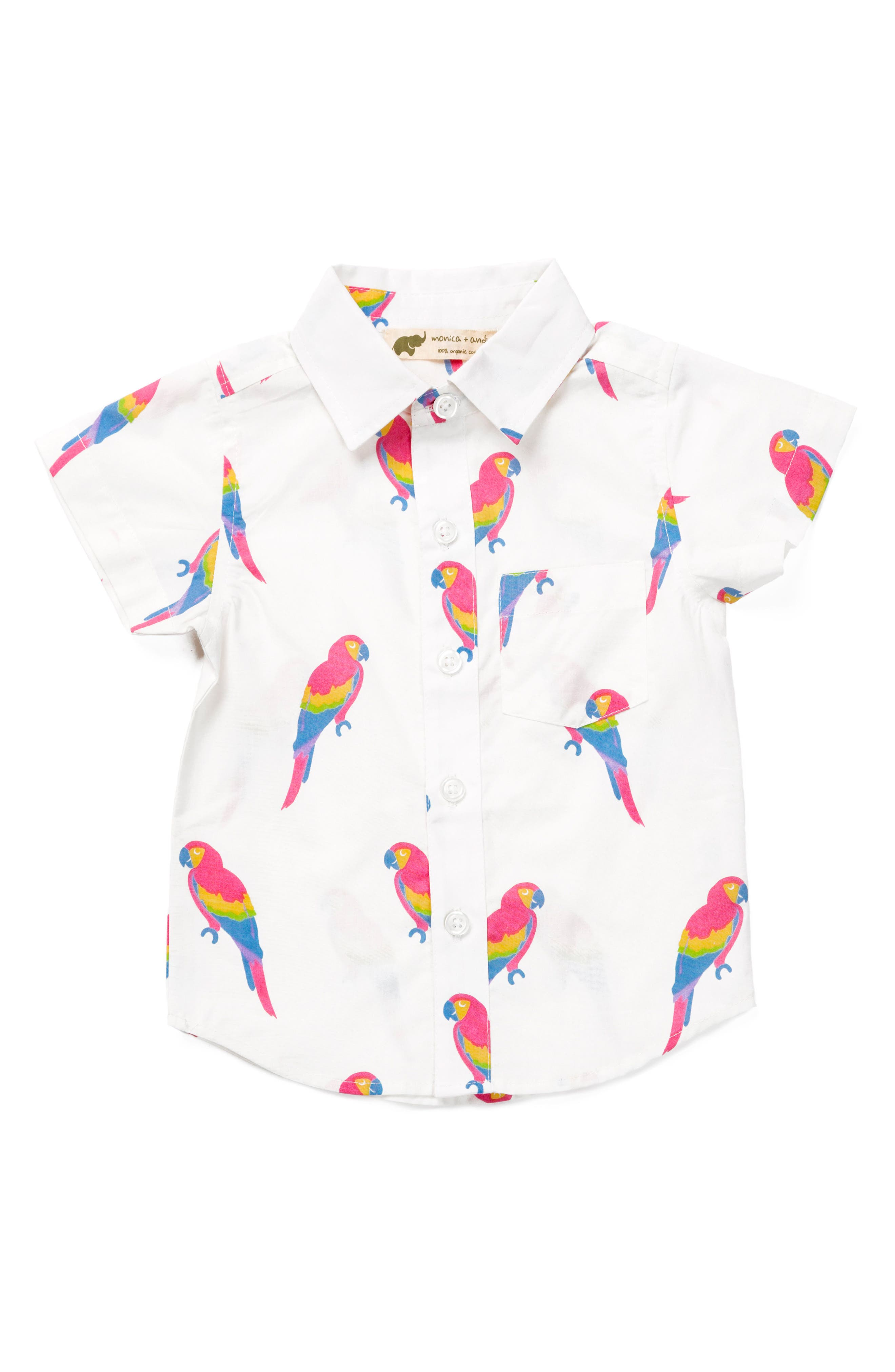 Parrot Organic Cotton Oxford Shirt,                             Main thumbnail 1, color,                             White