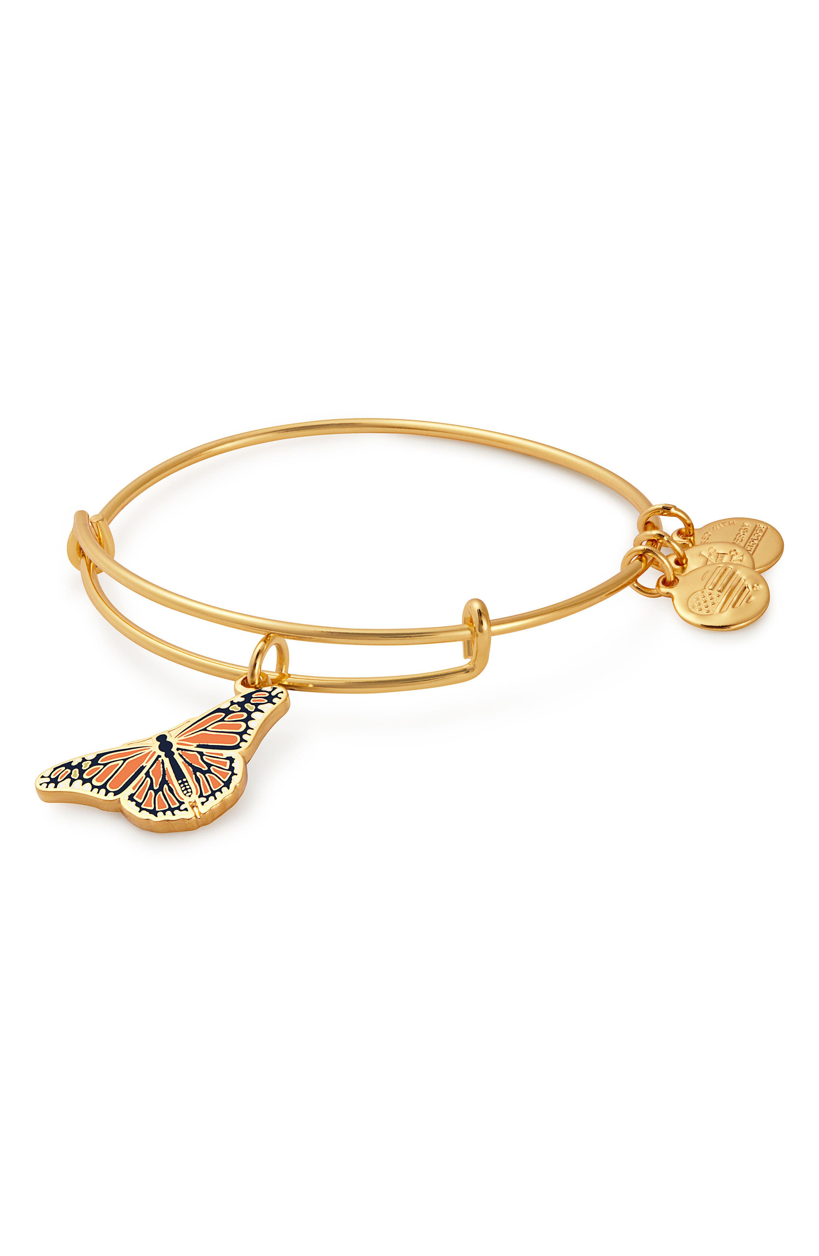 Charity by Design Monarch Butterfly Charm Bracelet,                         Main,                         color, Gold