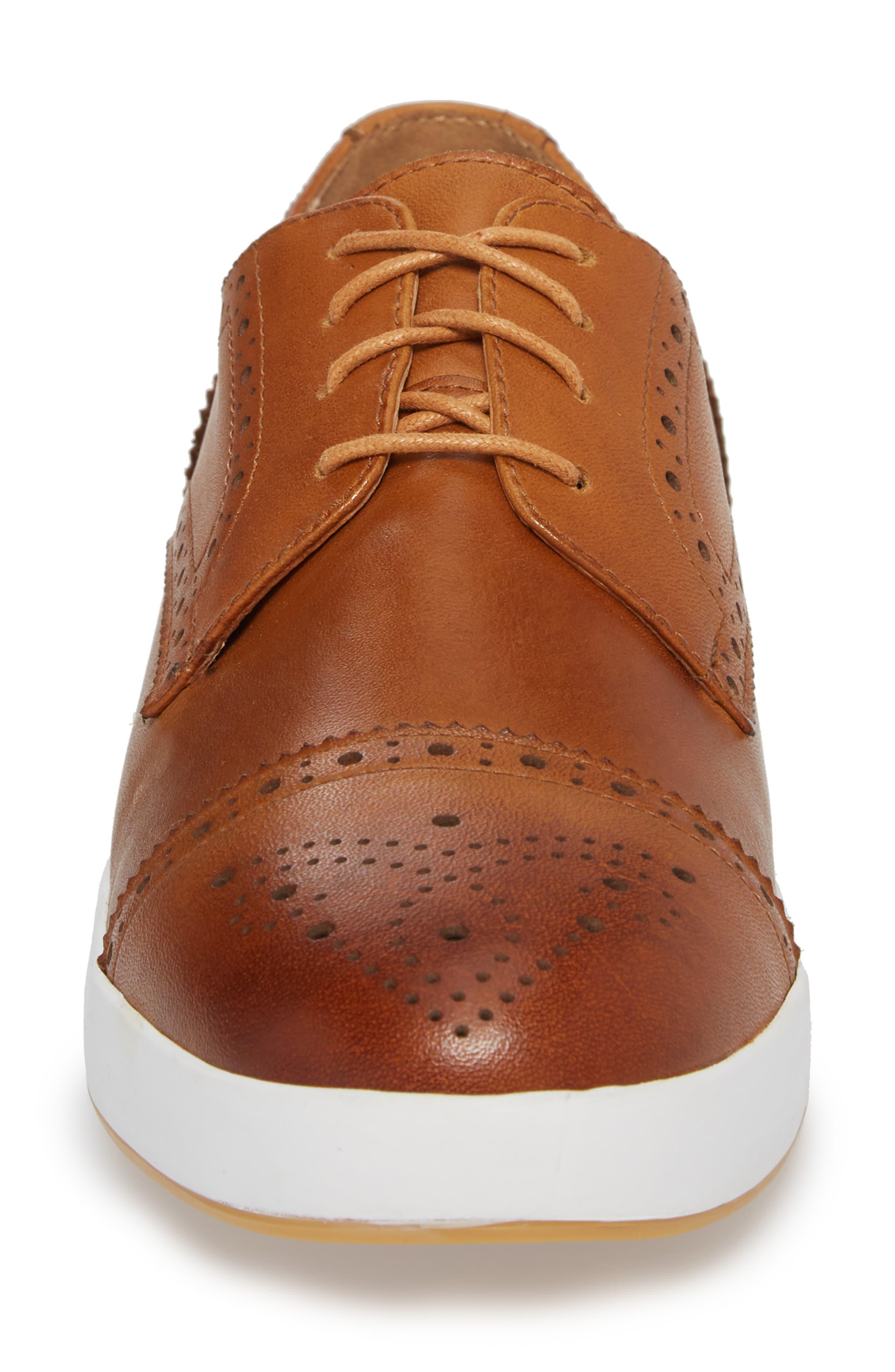 Dunnet Cap Toe Sneaker,                             Alternate thumbnail 4, color,                             Cognac Leather
