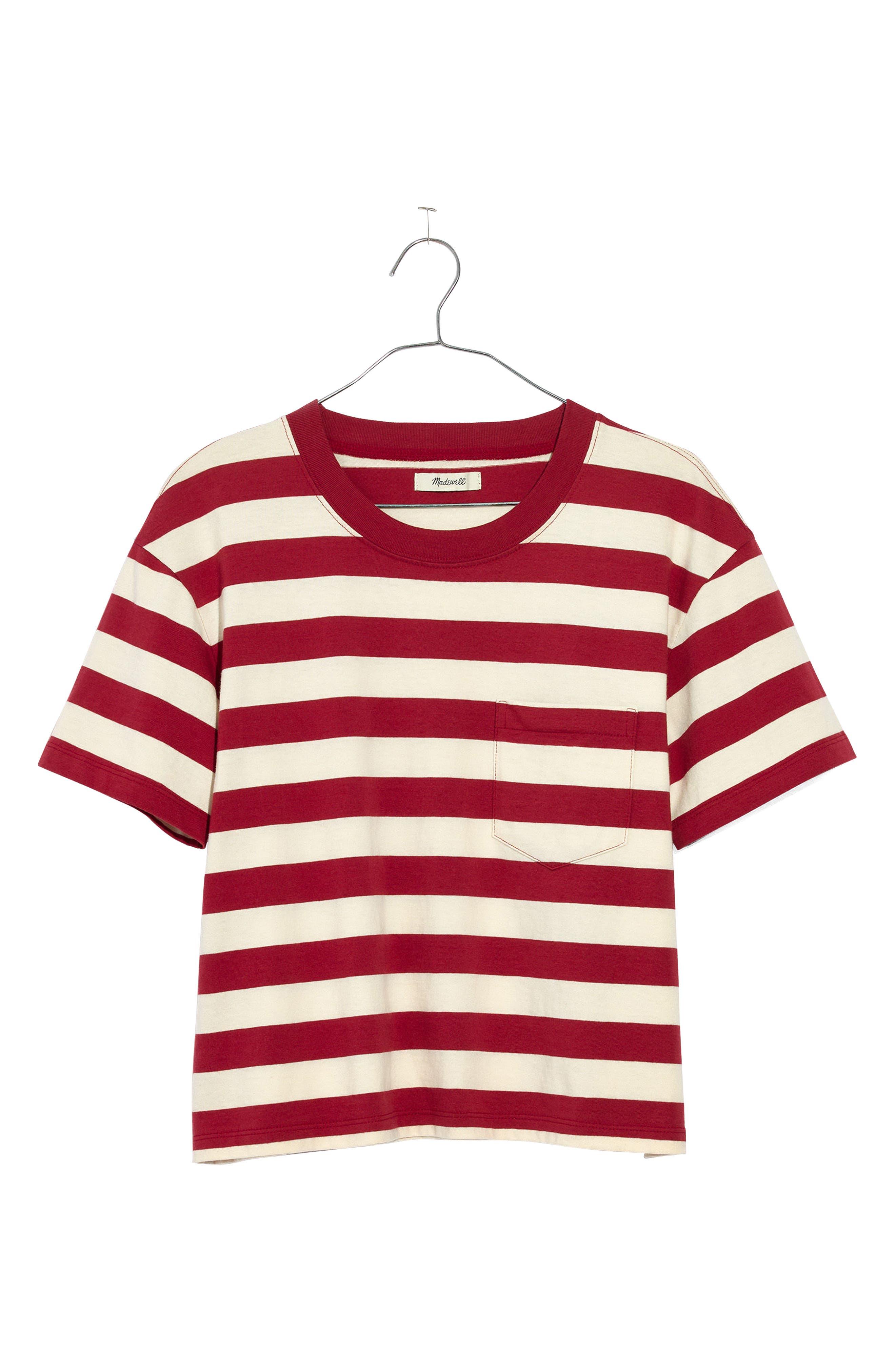 Stripe Easy Crop Tee,                         Main,                         color, Crimson