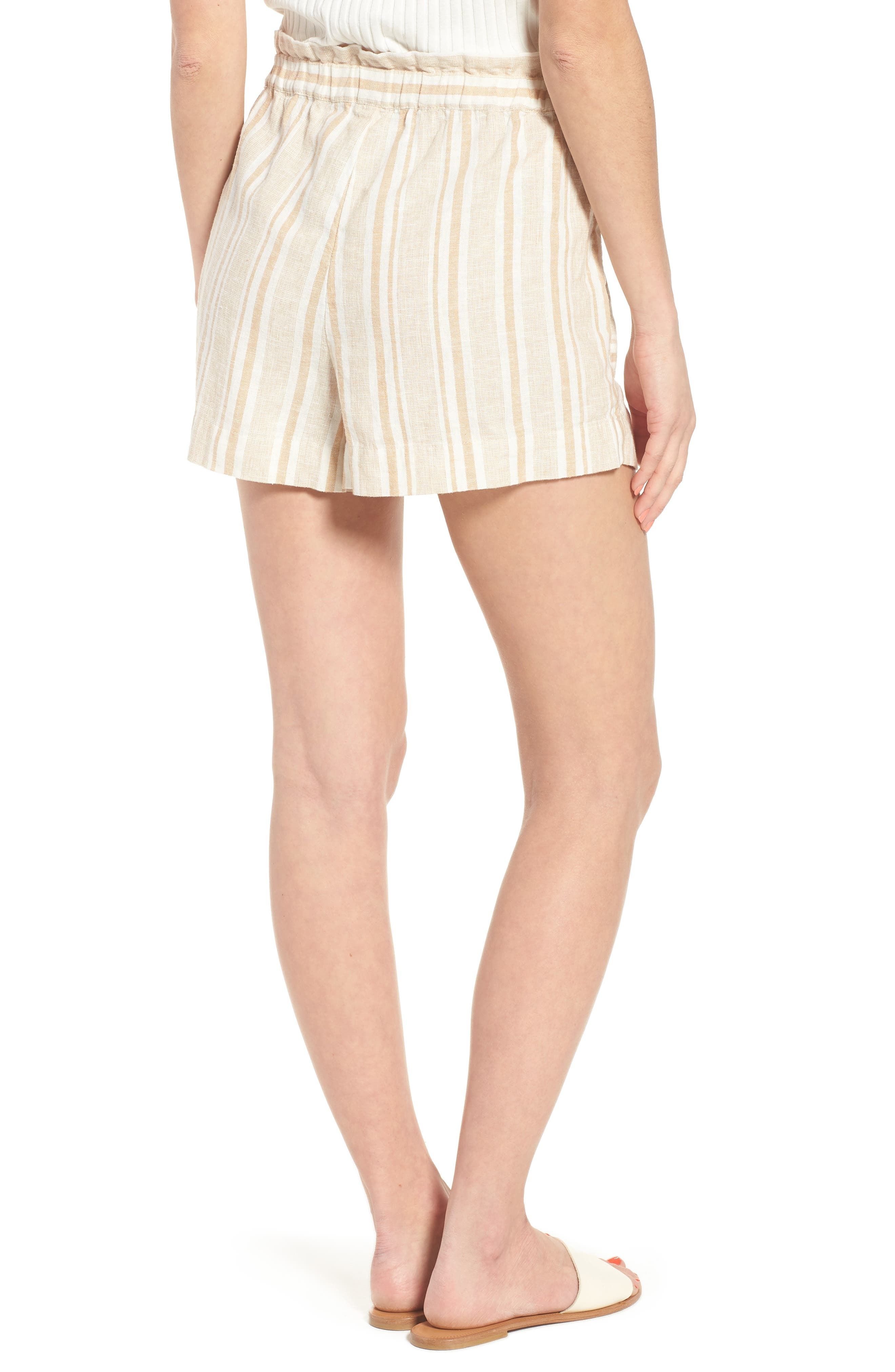 Stripe Linen Blend Shorts,                             Alternate thumbnail 2, color,                             Tan Lark Viola Stripe