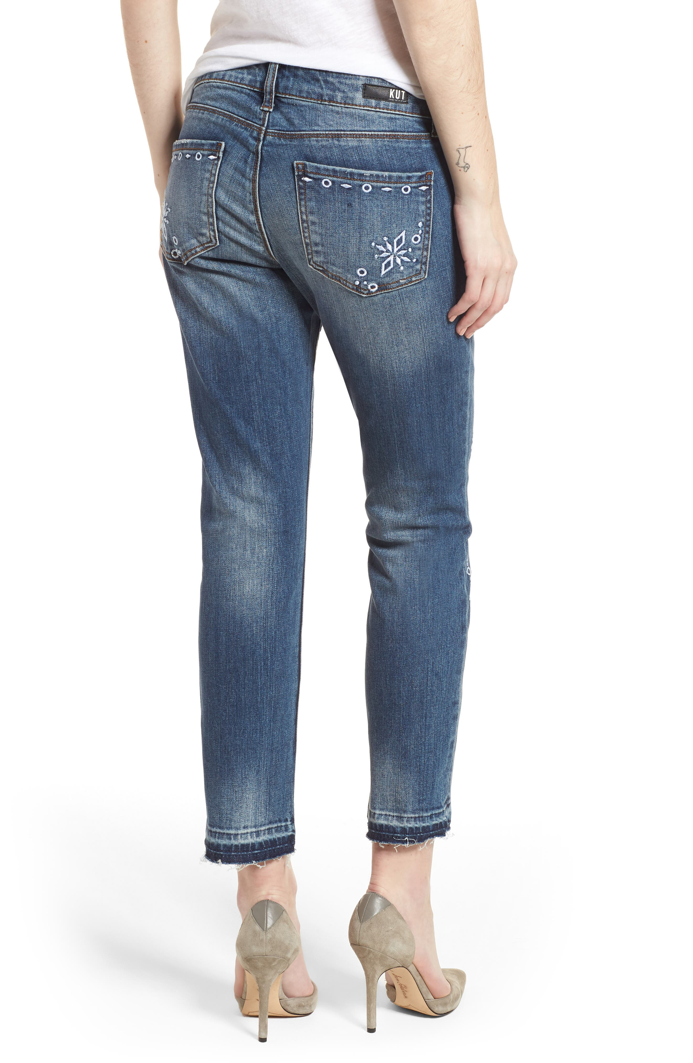 Reese Release Hem Embroidered Jeans,                             Alternate thumbnail 2, color,                             Originated