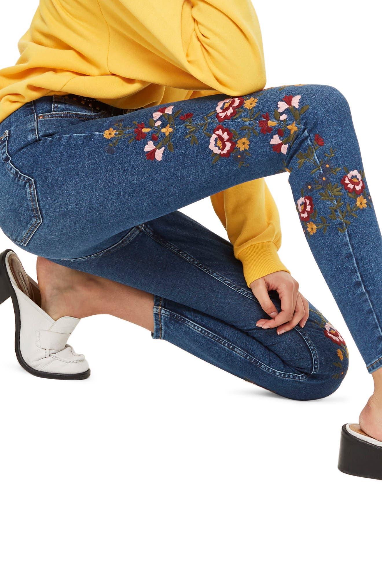 Jamie Ditsy Floral Jeans,                             Alternate thumbnail 3, color,                             Mid Denim Multi