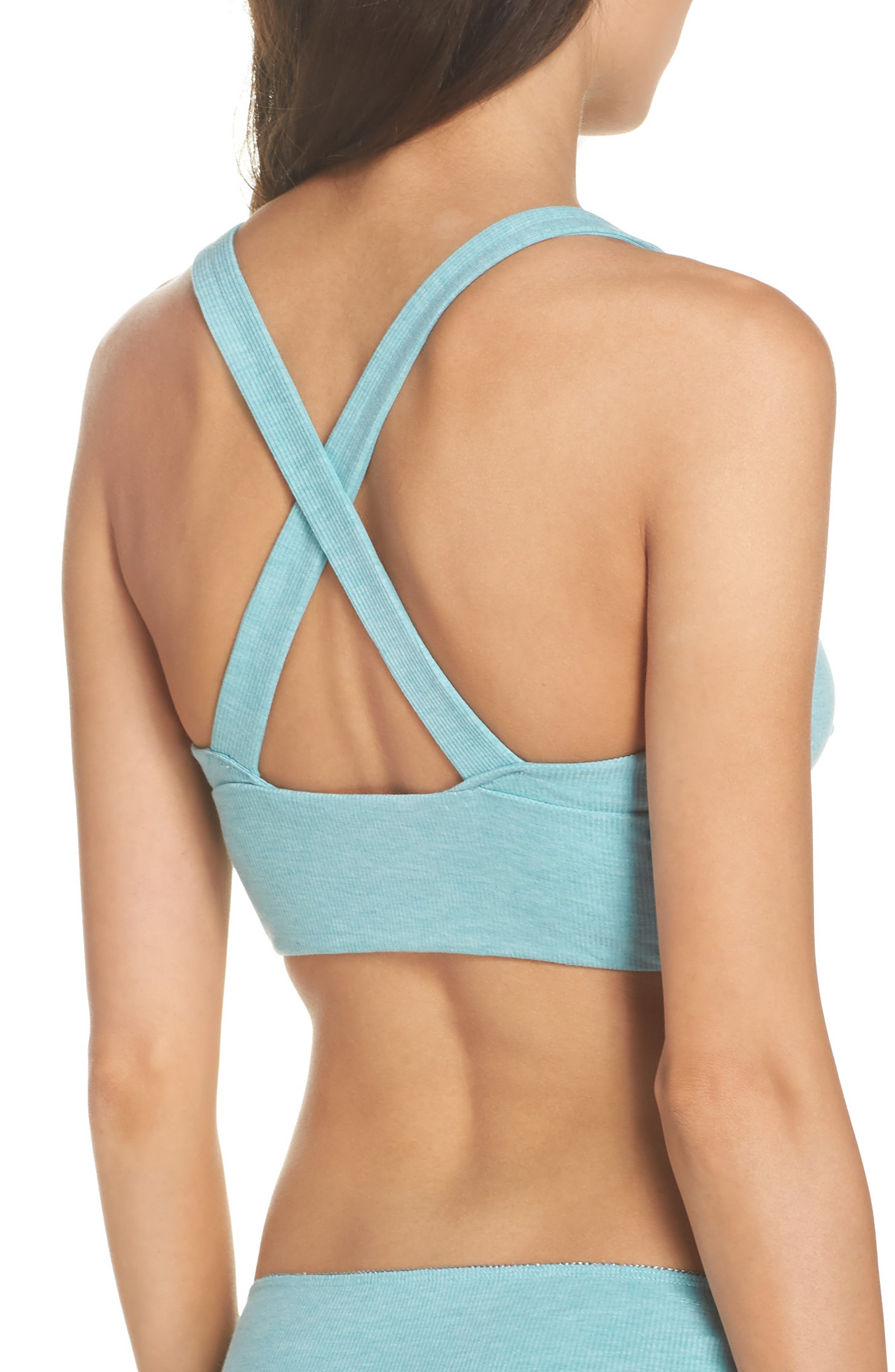 Ribbed Bralette,                             Alternate thumbnail 2, color,                             Prickly Pear