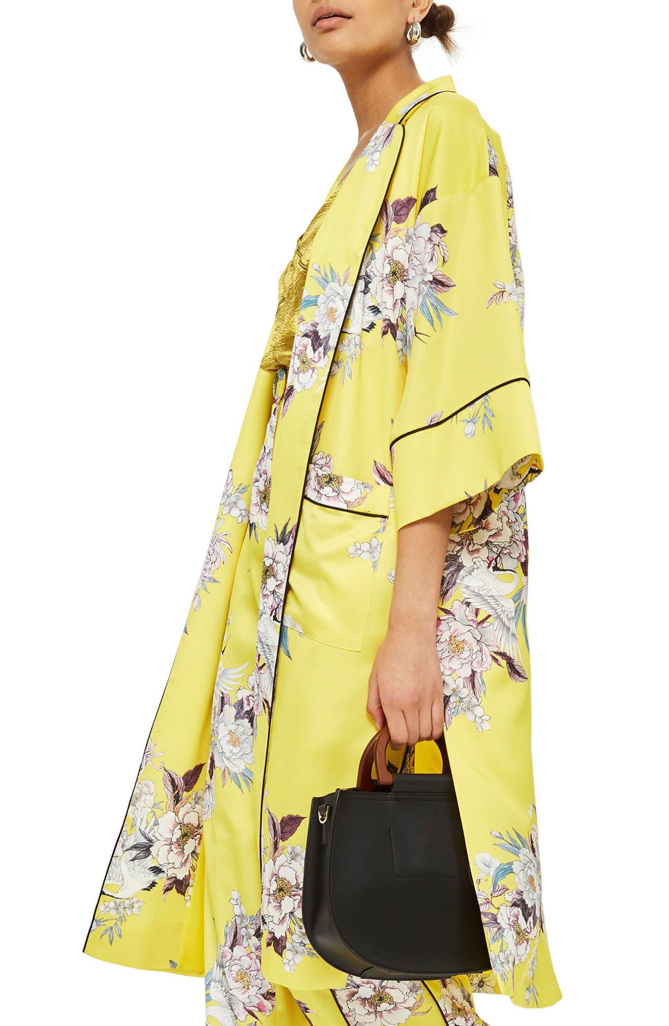 Heron Print Kimono,                             Alternate thumbnail 3, color,                             Yellow Multi