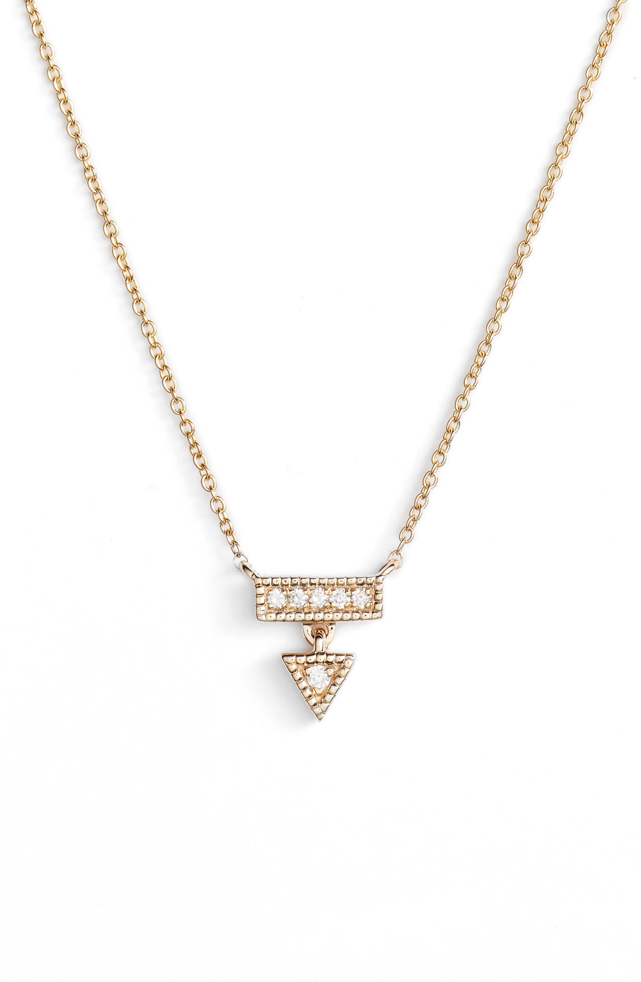 Emily Sarah Diamond Triangle Dangle Necklace,                             Main thumbnail 1, color,                             Yellow Gold