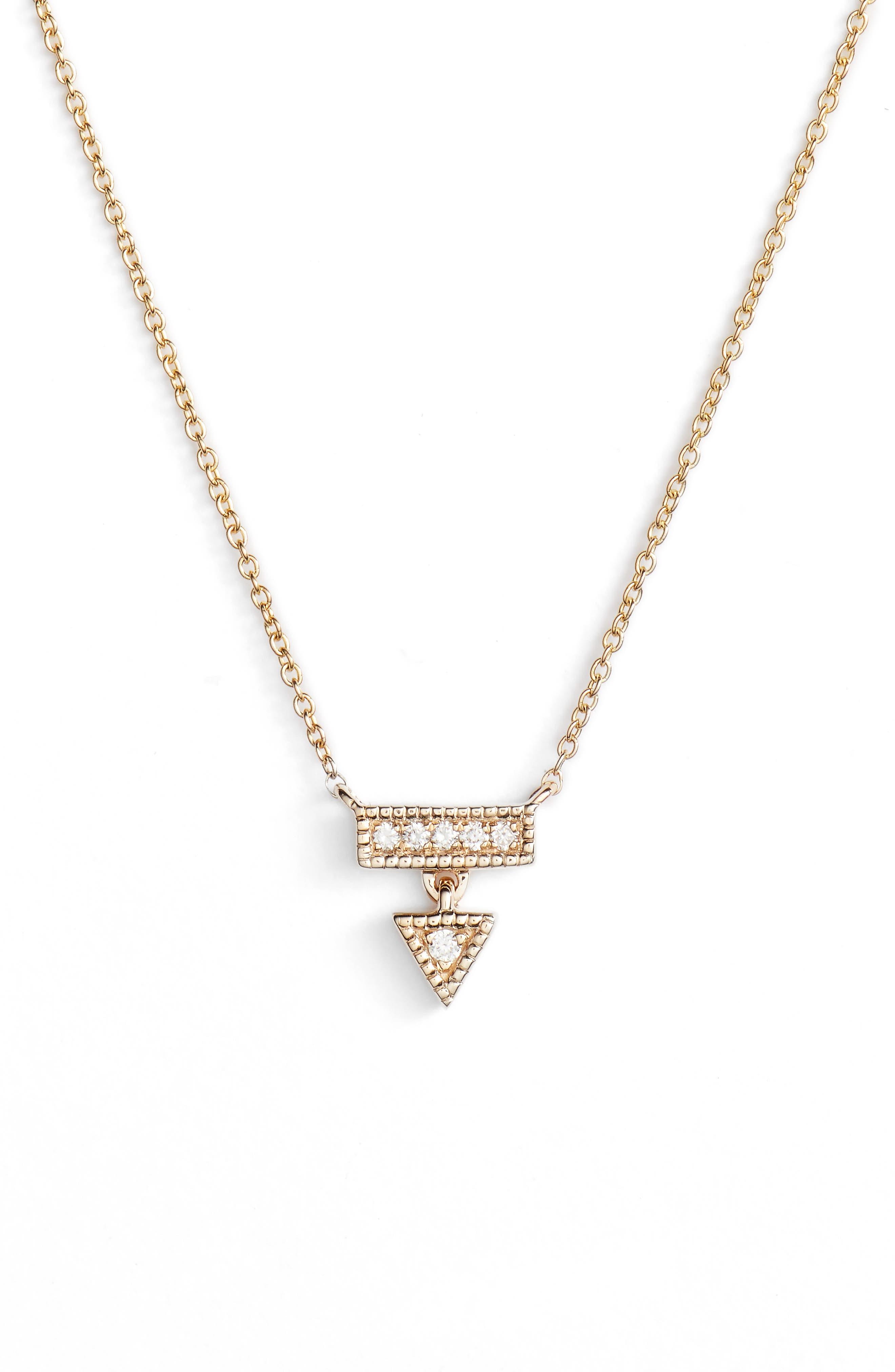 Emily Sarah Diamond Triangle Dangle Necklace,                         Main,                         color, Yellow Gold